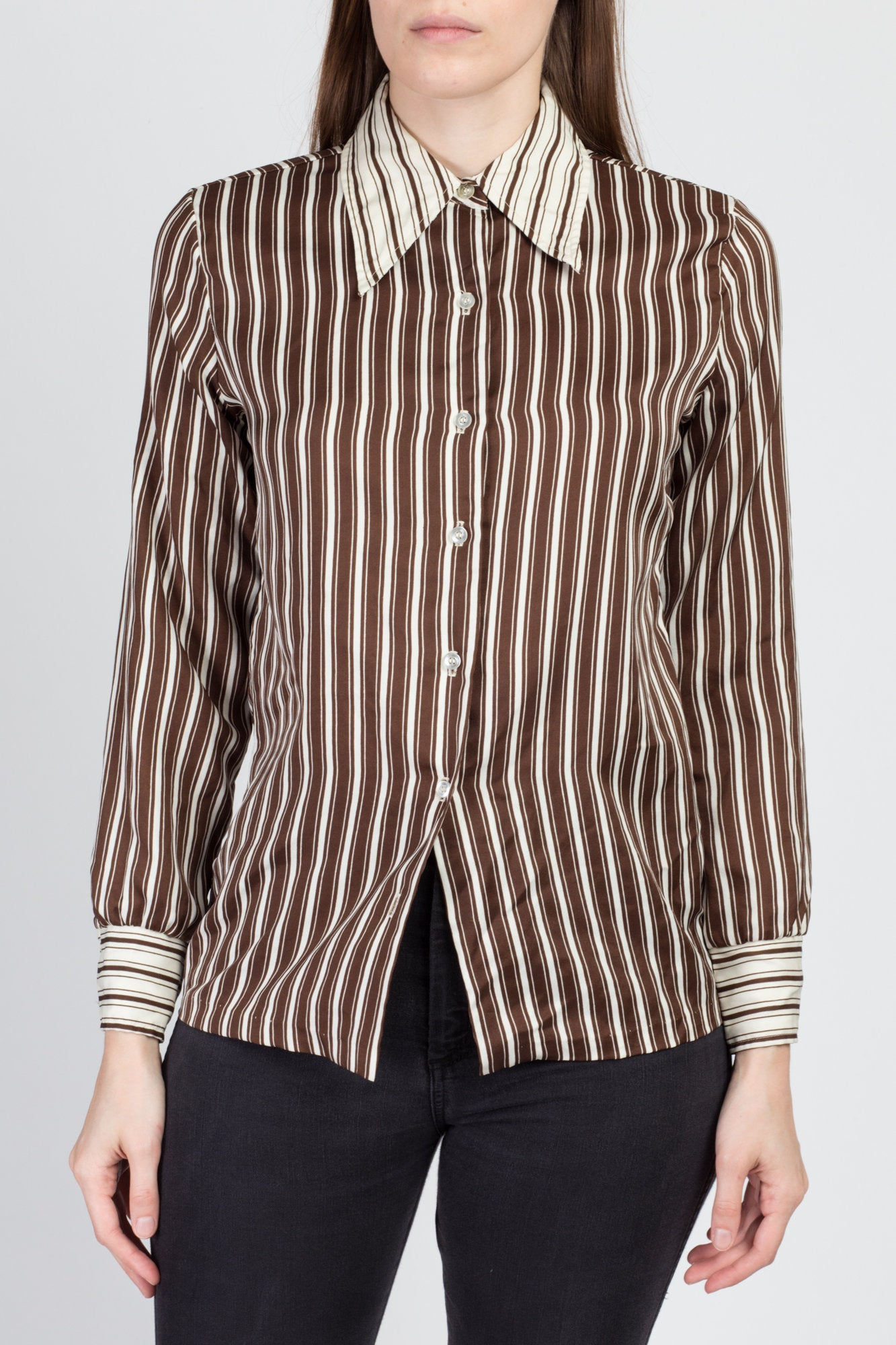 70s Contrast Striped Button Up Top - Small