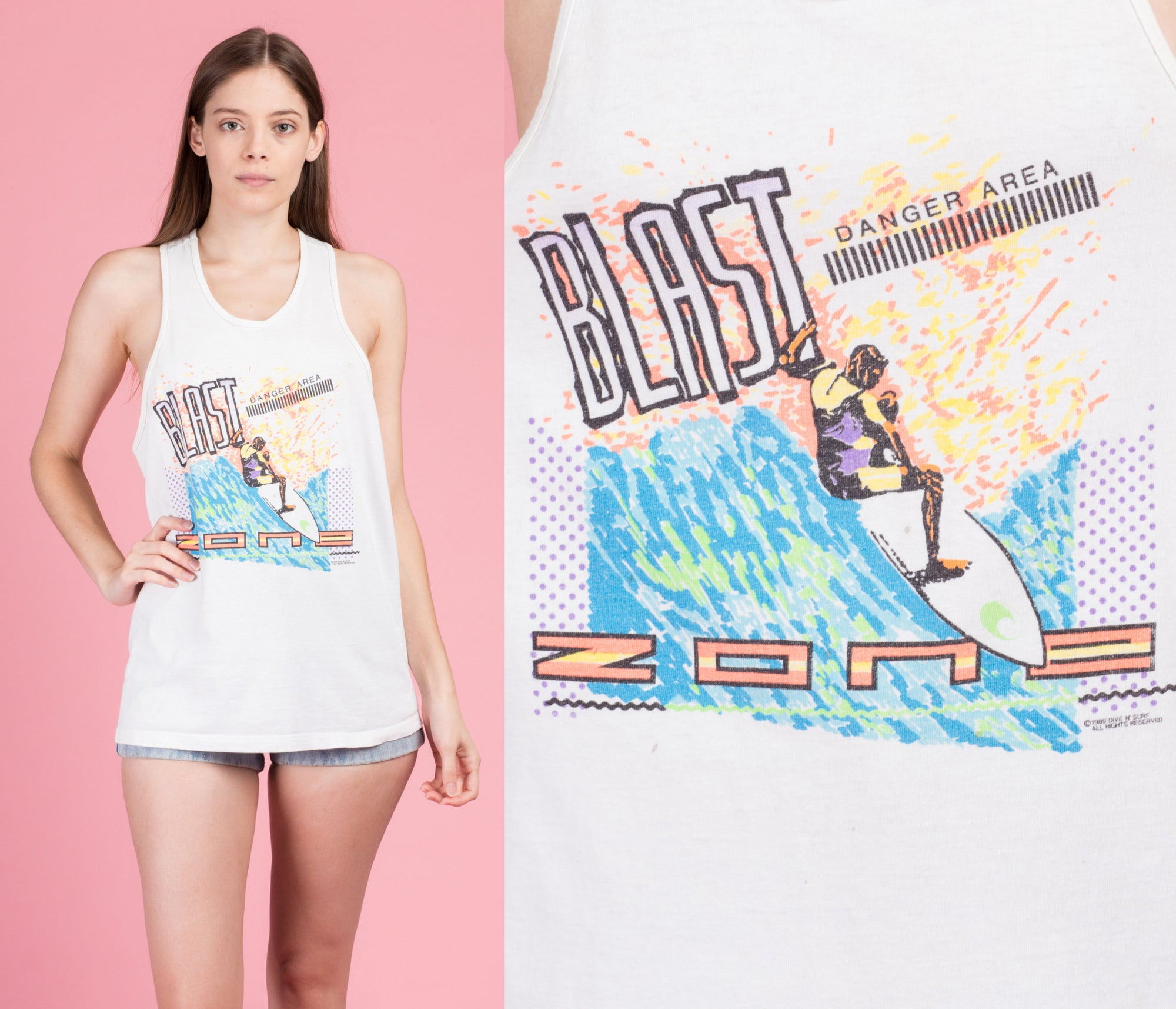 80s Blast Zone Surfer Tank Top - Medium
