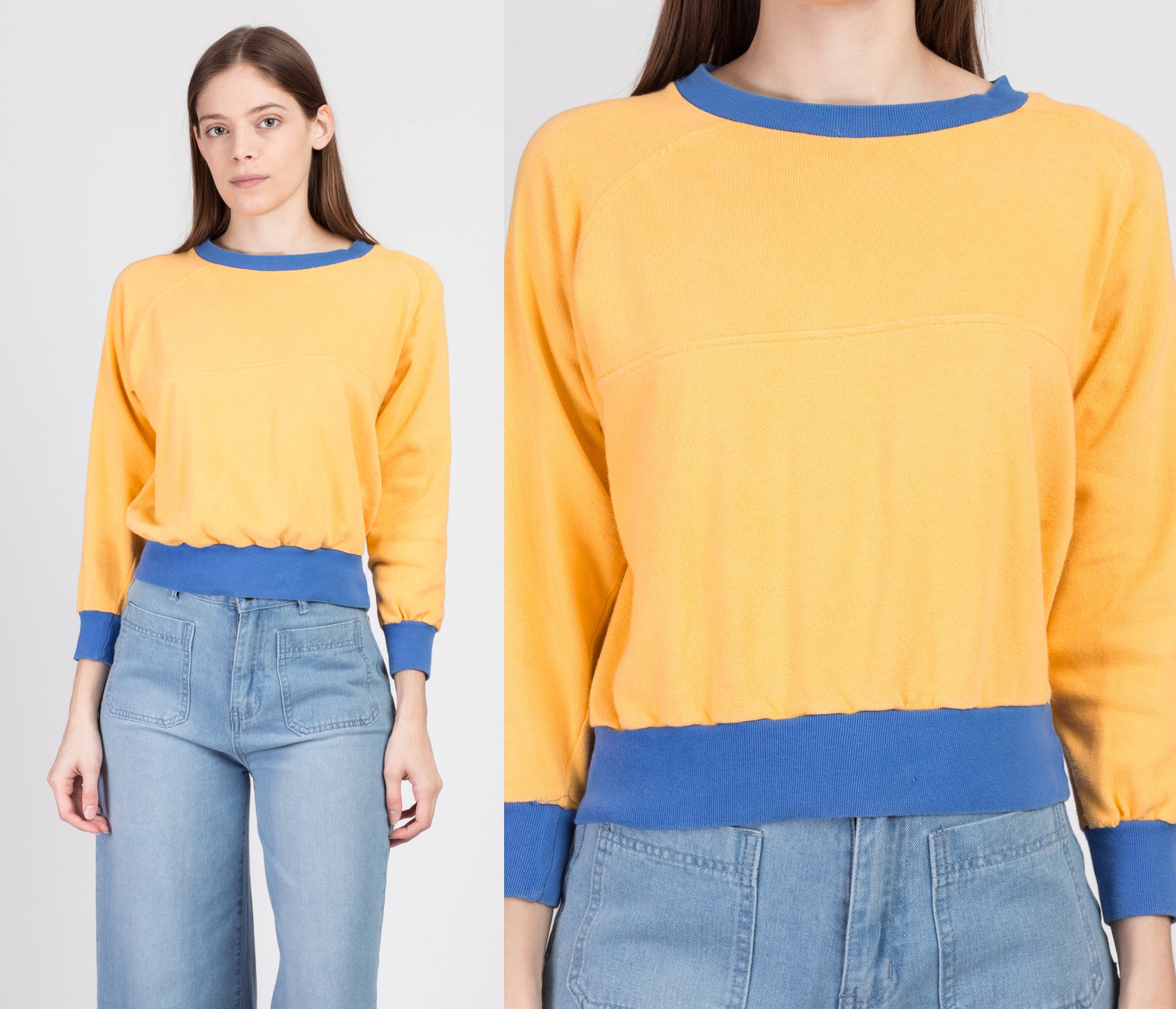80s Yellow & Blue Cropped Sweatshirt - Small