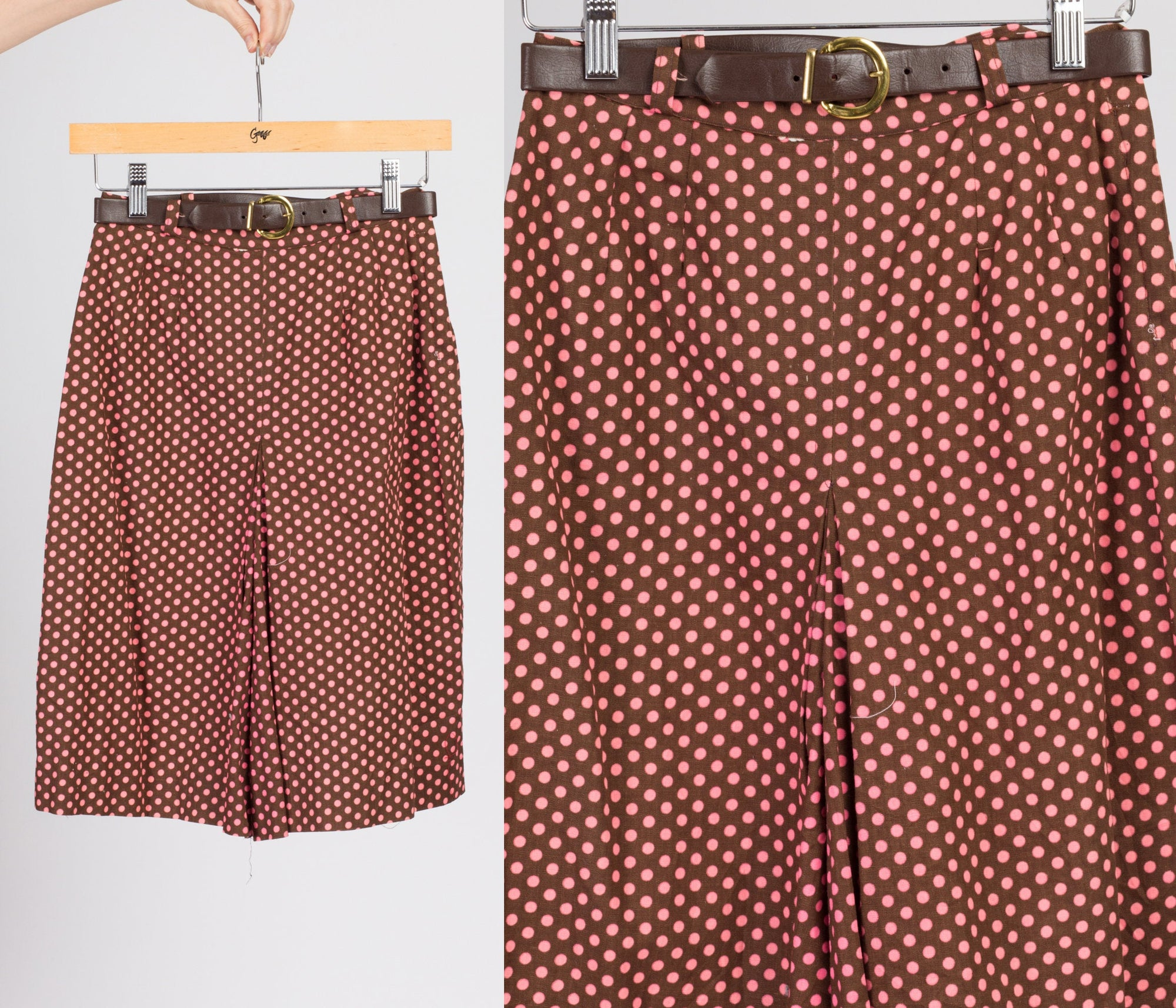 60s Brown & Pink Polka Dot Mod Shorts - Extra Small