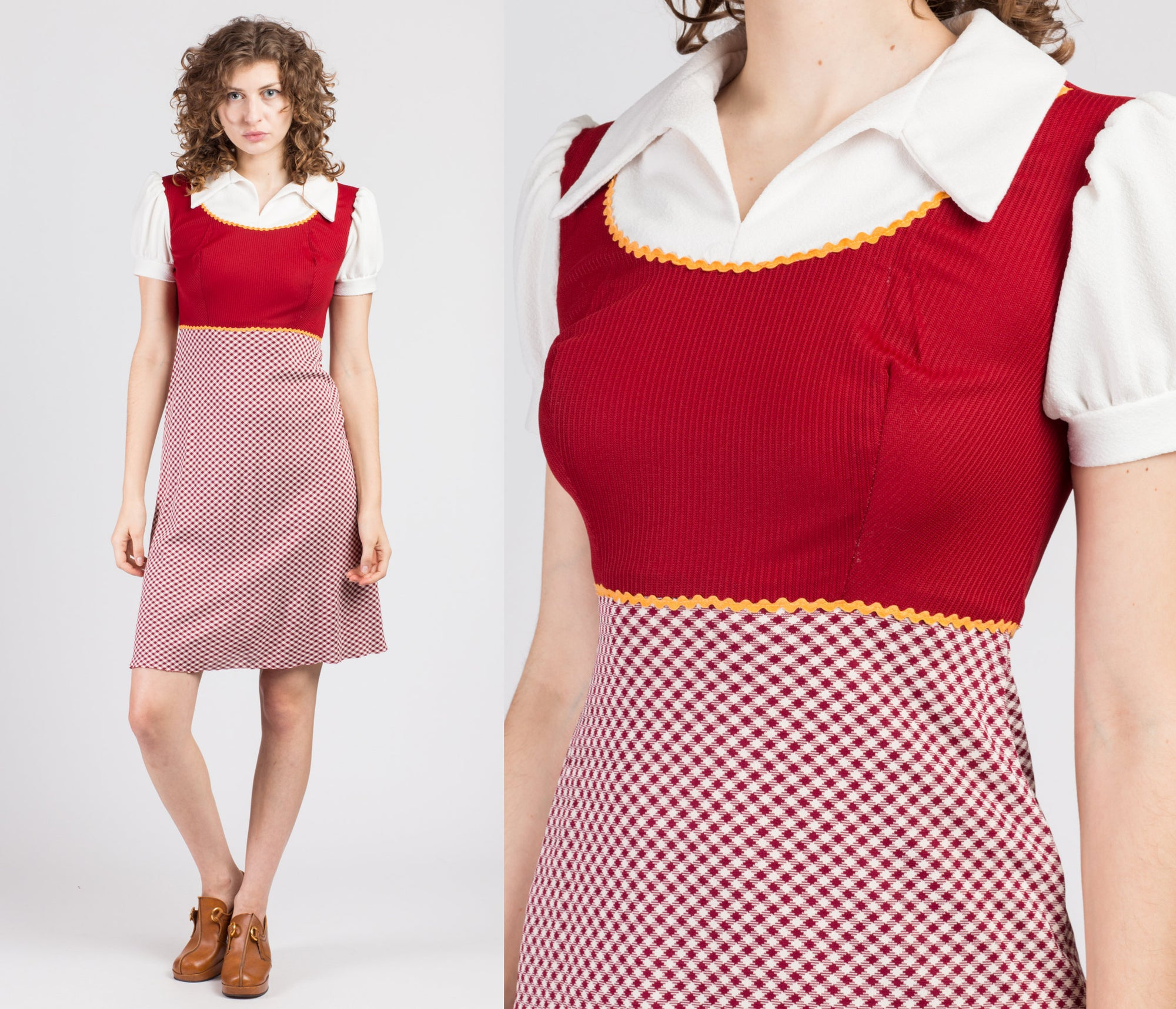 70s Mod Gingham Collared Schoolgirl Mini Dress - Small