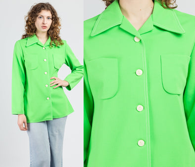 70s Mod Neon Green Button Up Shirt  - Large