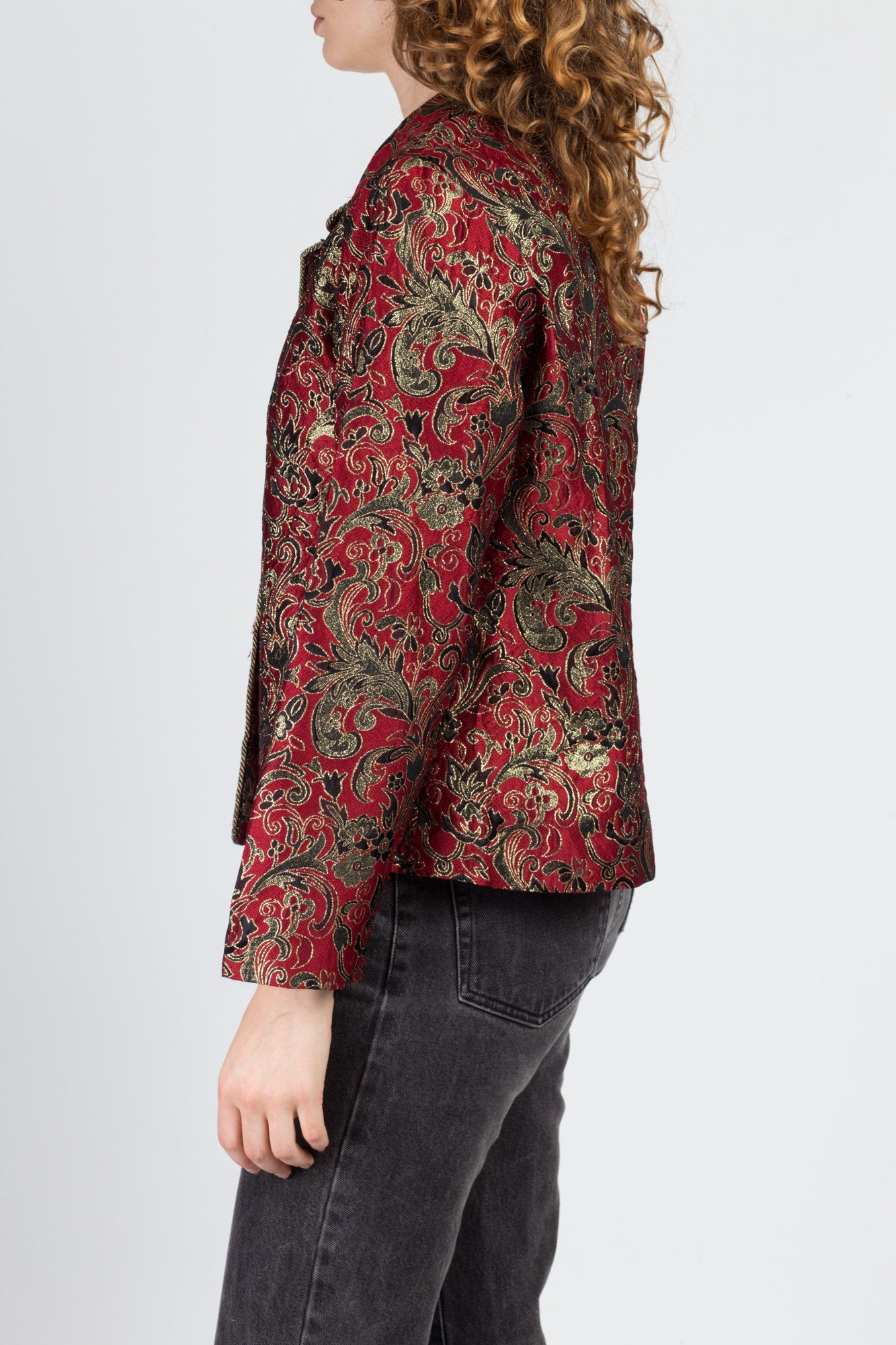 80s Metallic Brocade Jacket - Medium