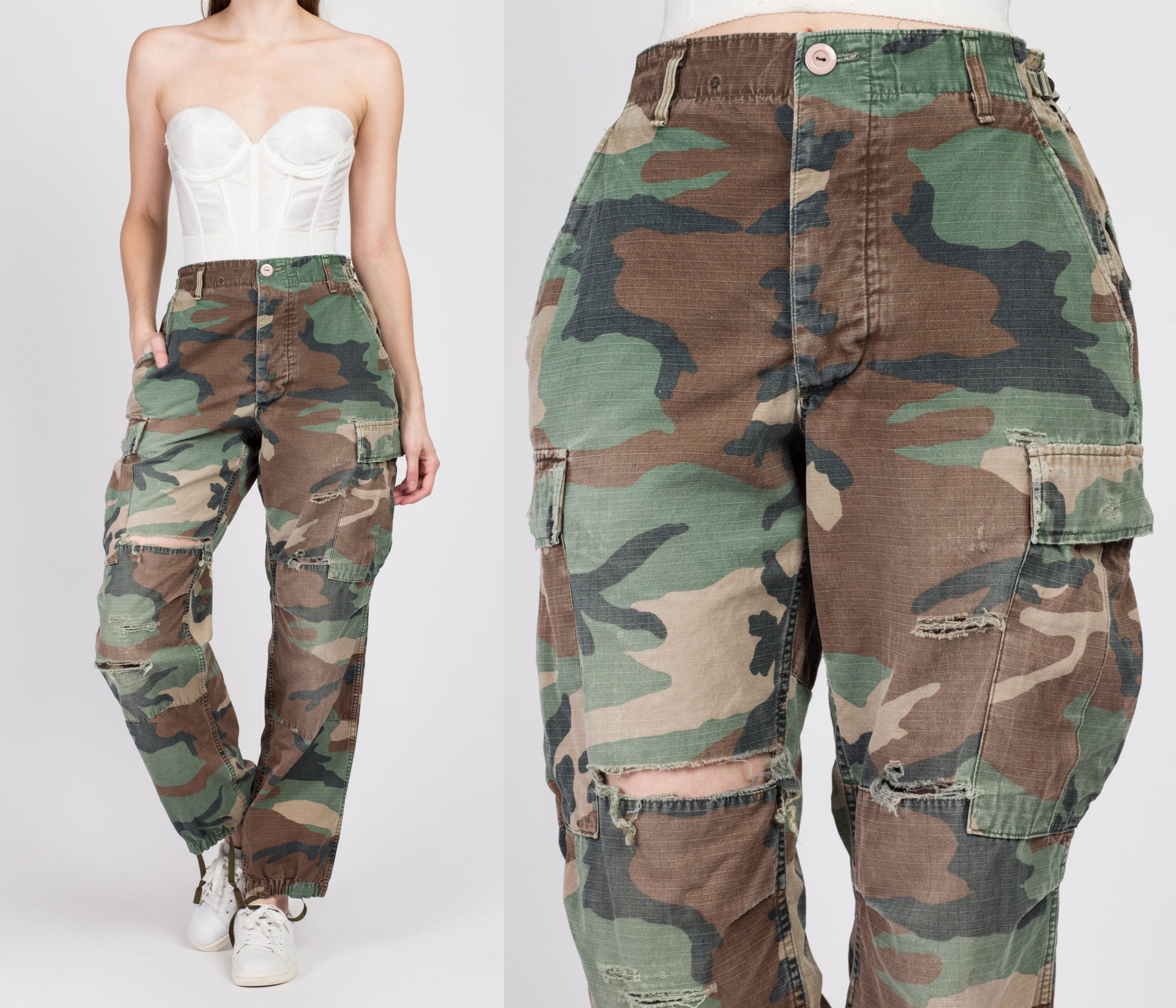 "80s High Waisted Ripped Camo Pants - Men's Small, Women's Medium, 27""-31"""