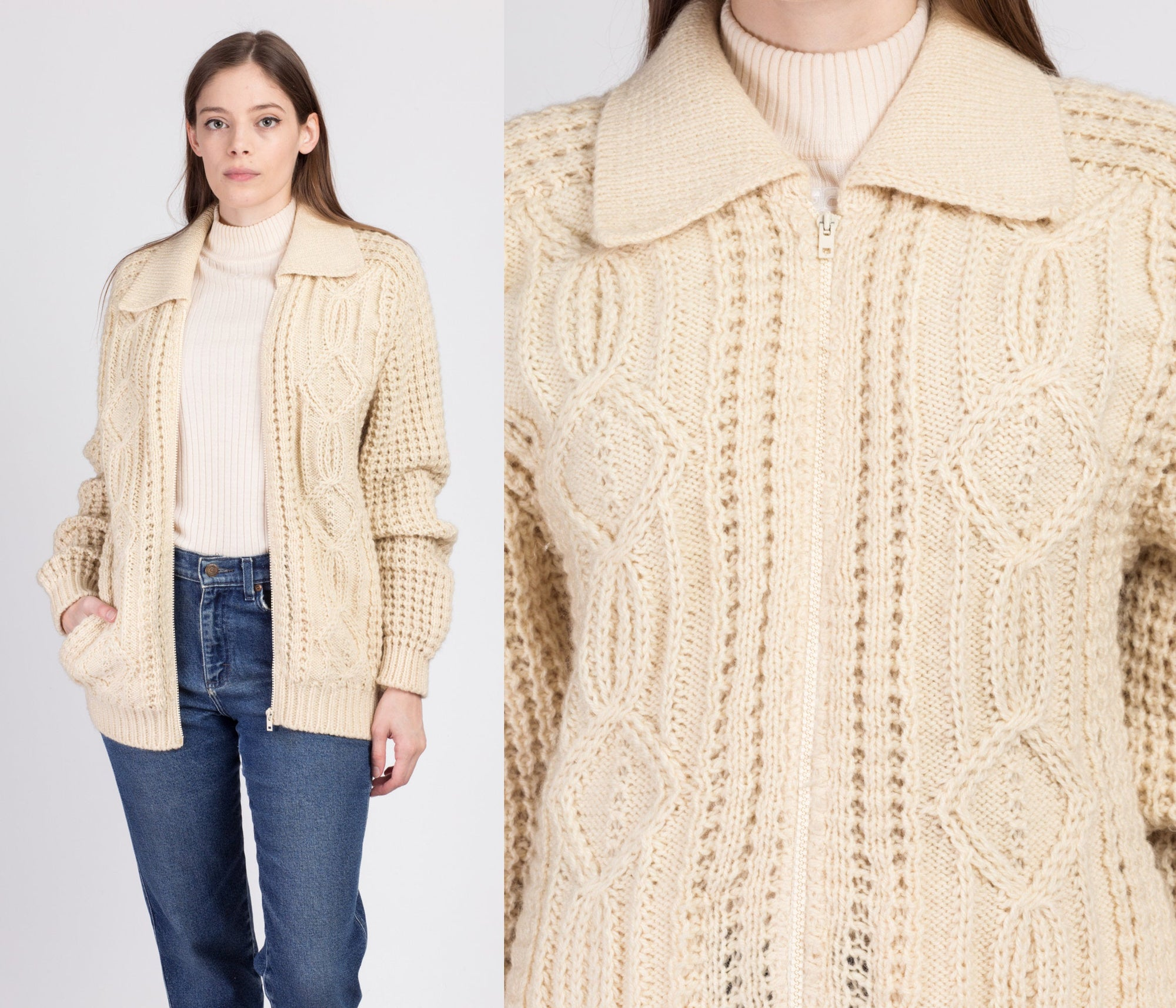 70s Irish Aran Cable Knit Fisherman Cardigan - Medium