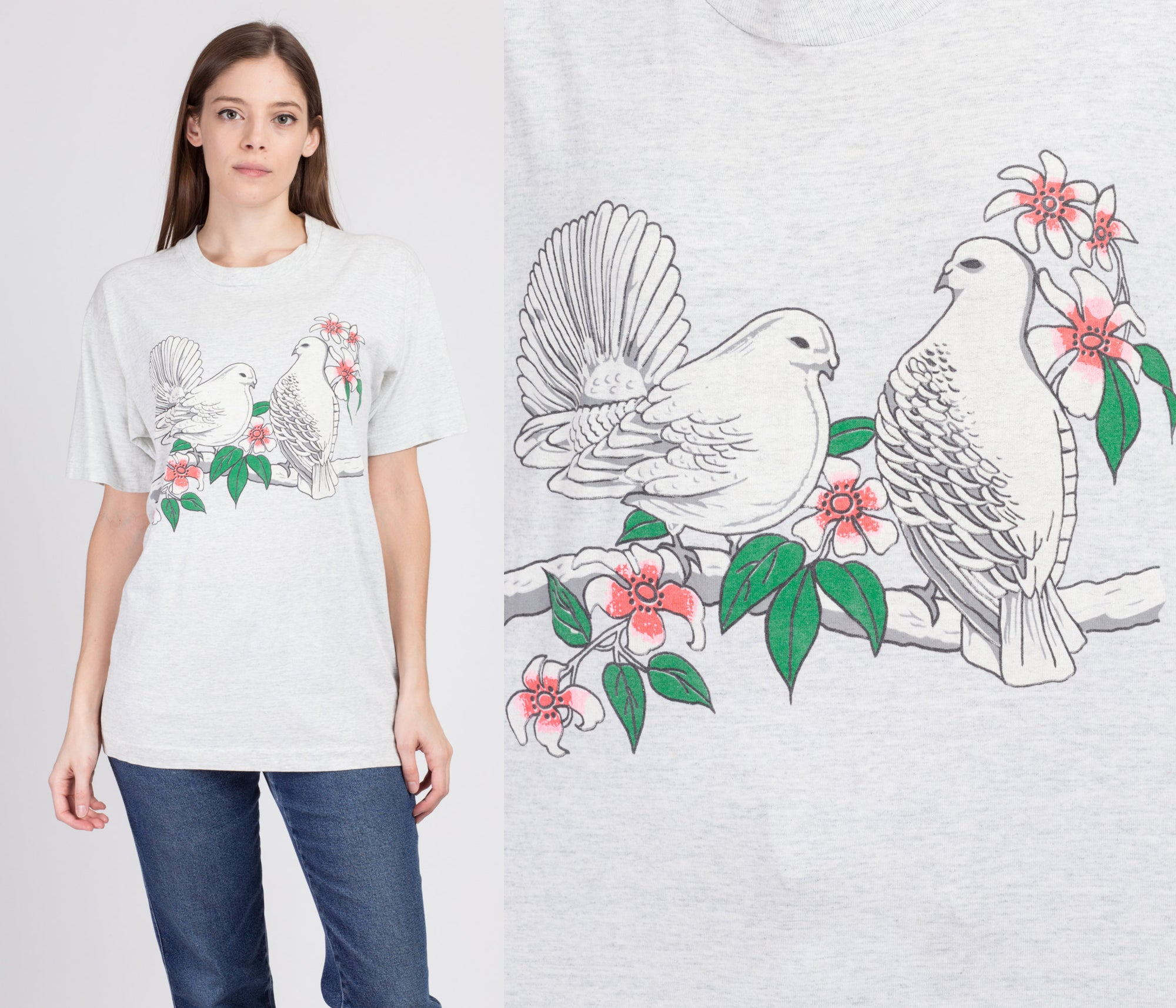 90s White Dove Graphic Tee - Women's Large