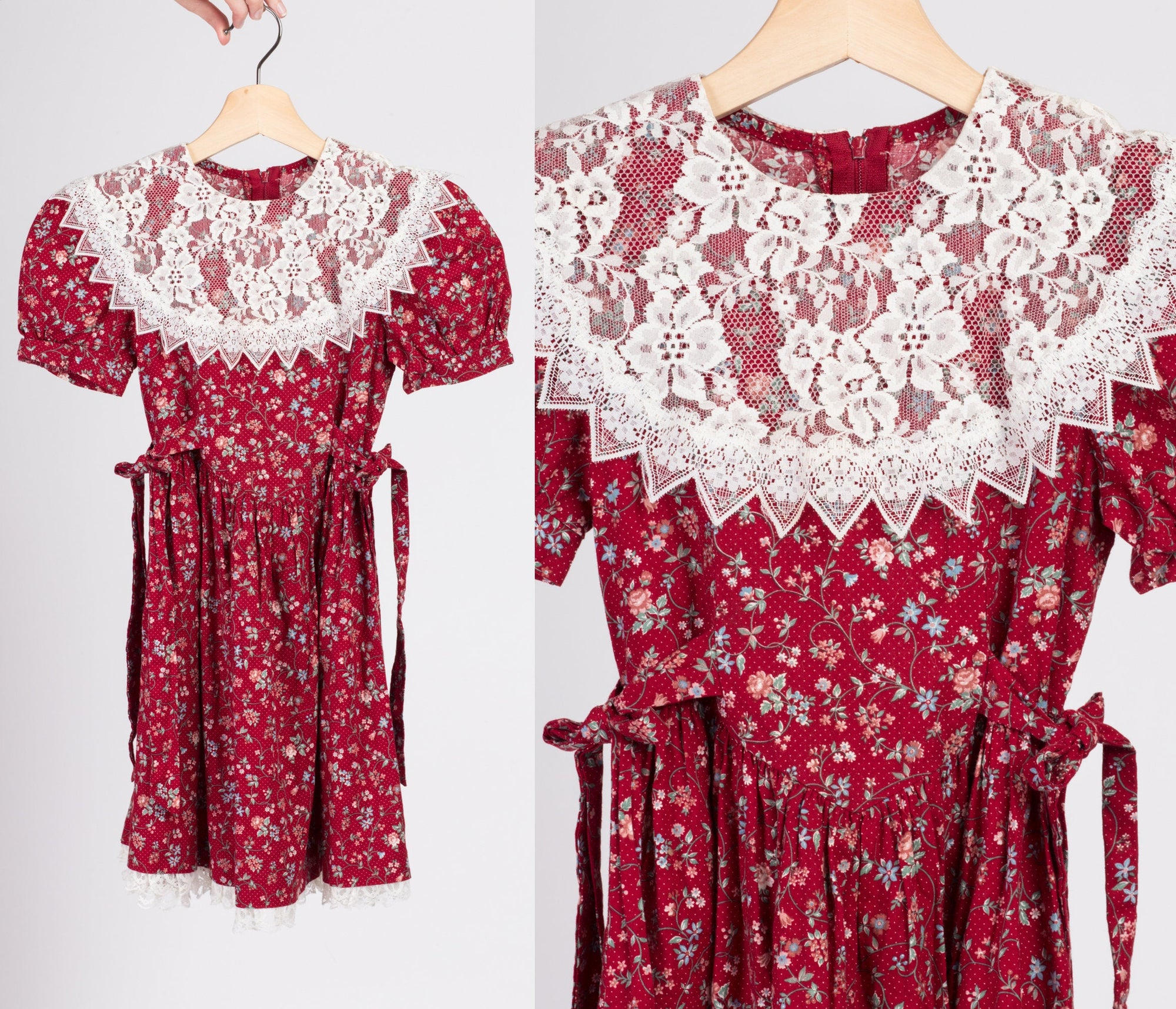Vintage Gunne Sax Girls Red Floral Dress - Size 6x