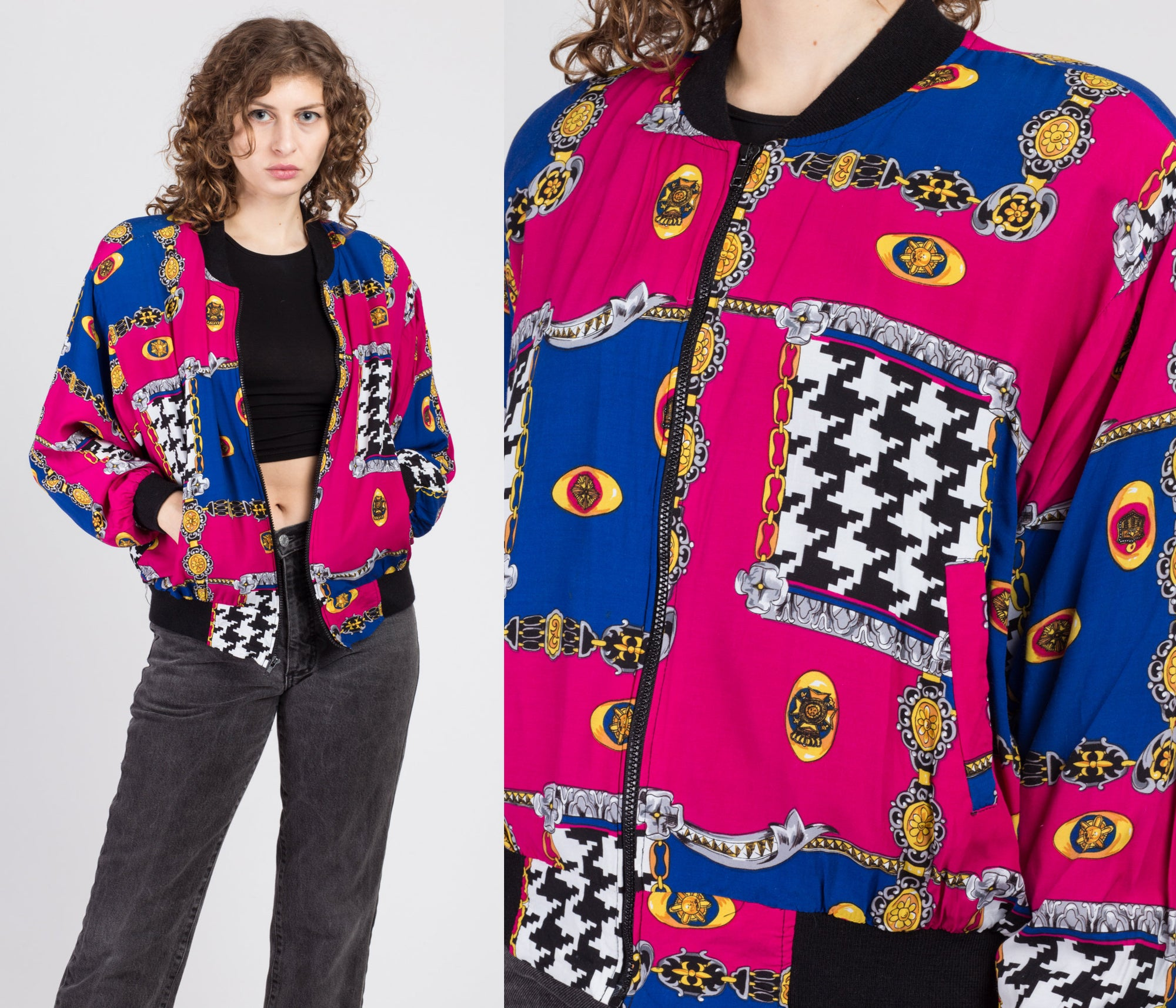 90s Baroque Bomber Windbreaker - Extra Large