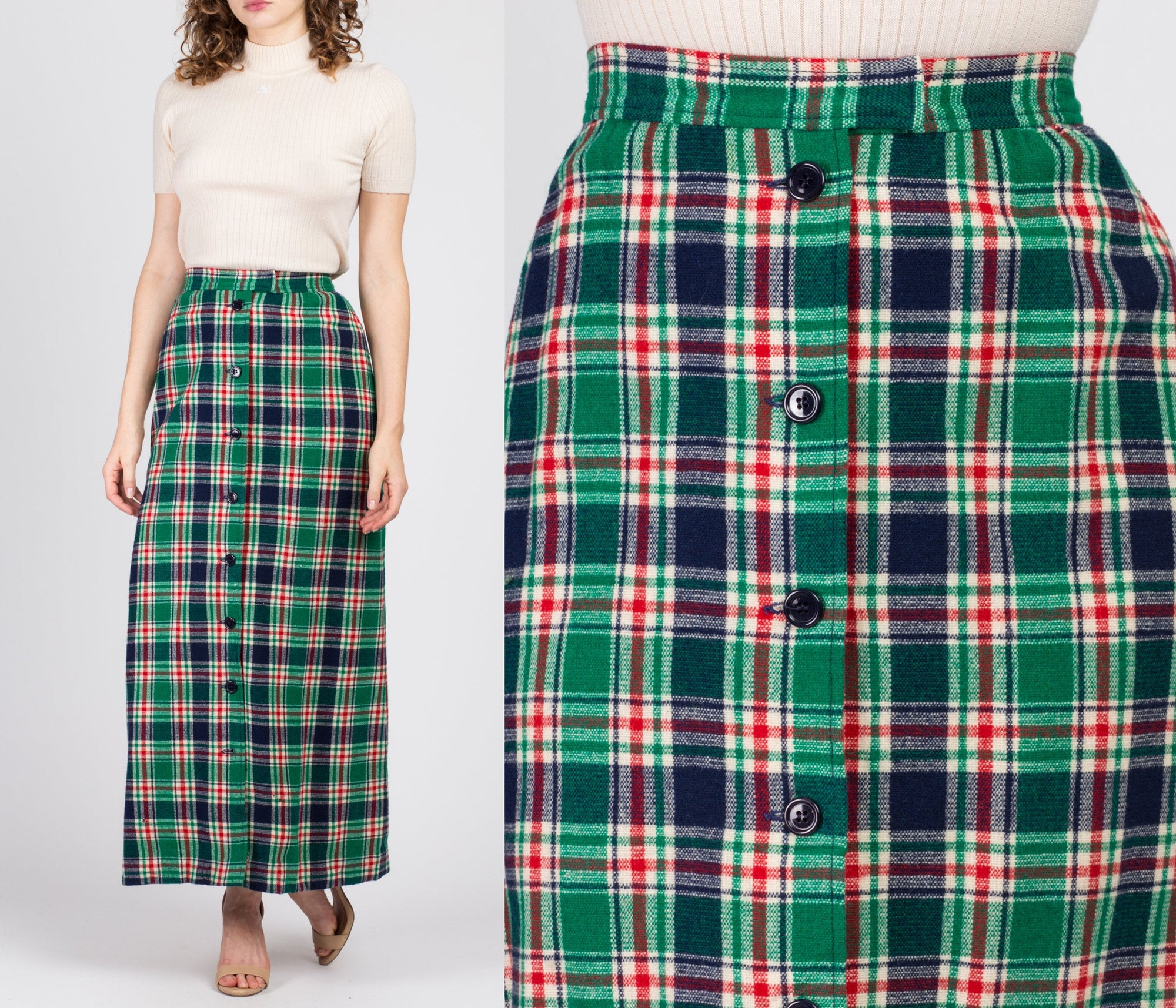 70s Pendleton Plaid Button Up Maxi Skirt - Extra Small