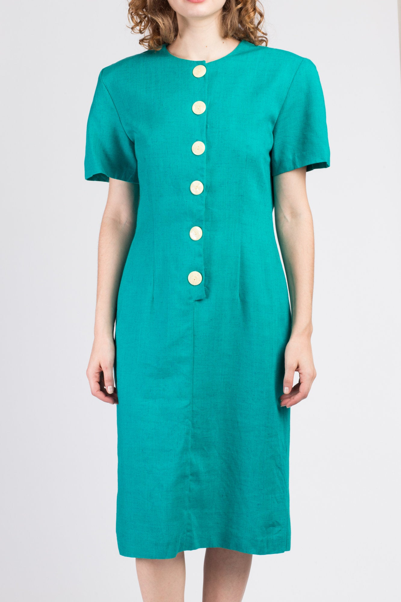 80s Teal Button Up Midi Dress - Medium to Large
