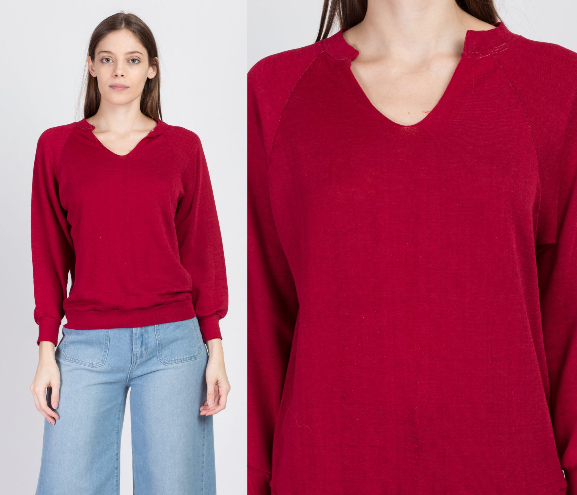 80s Red V Neck Sweatshirt - Medium