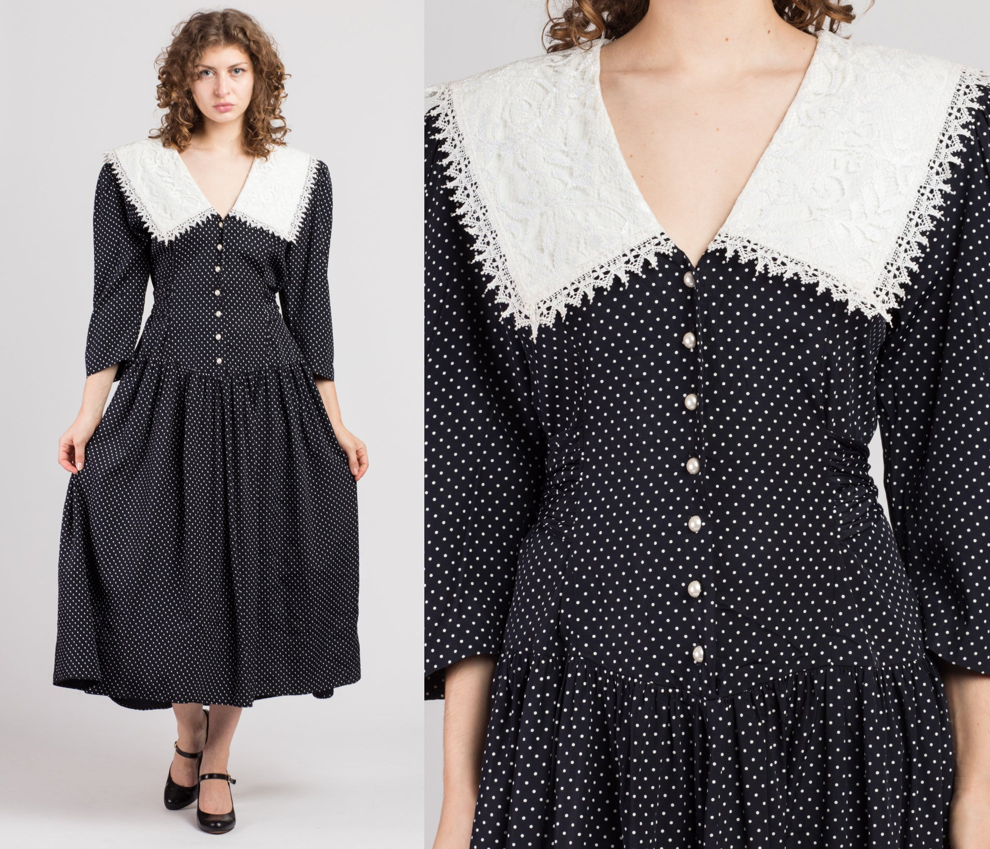 80s Black & White Polka Dot Lace Collar Dress - Large