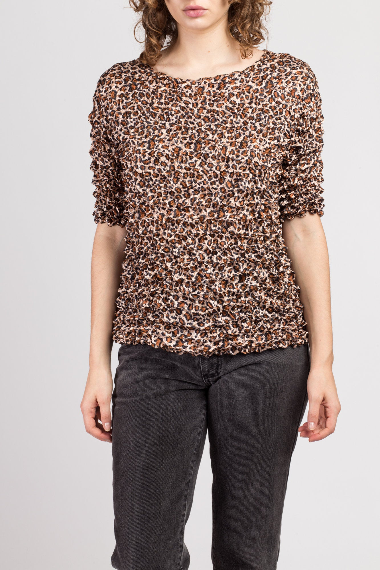 90s Leopard Print Popcorn Shirt - Large to XL