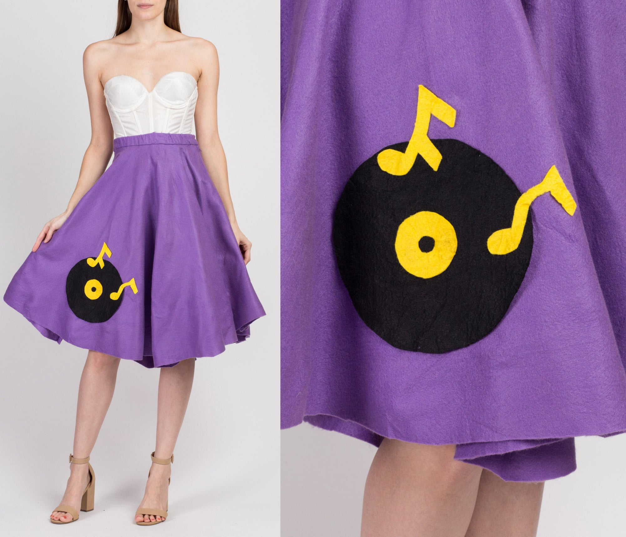 Vintage Vinyl Record Felt Sock Hop Skirt - XS to Small