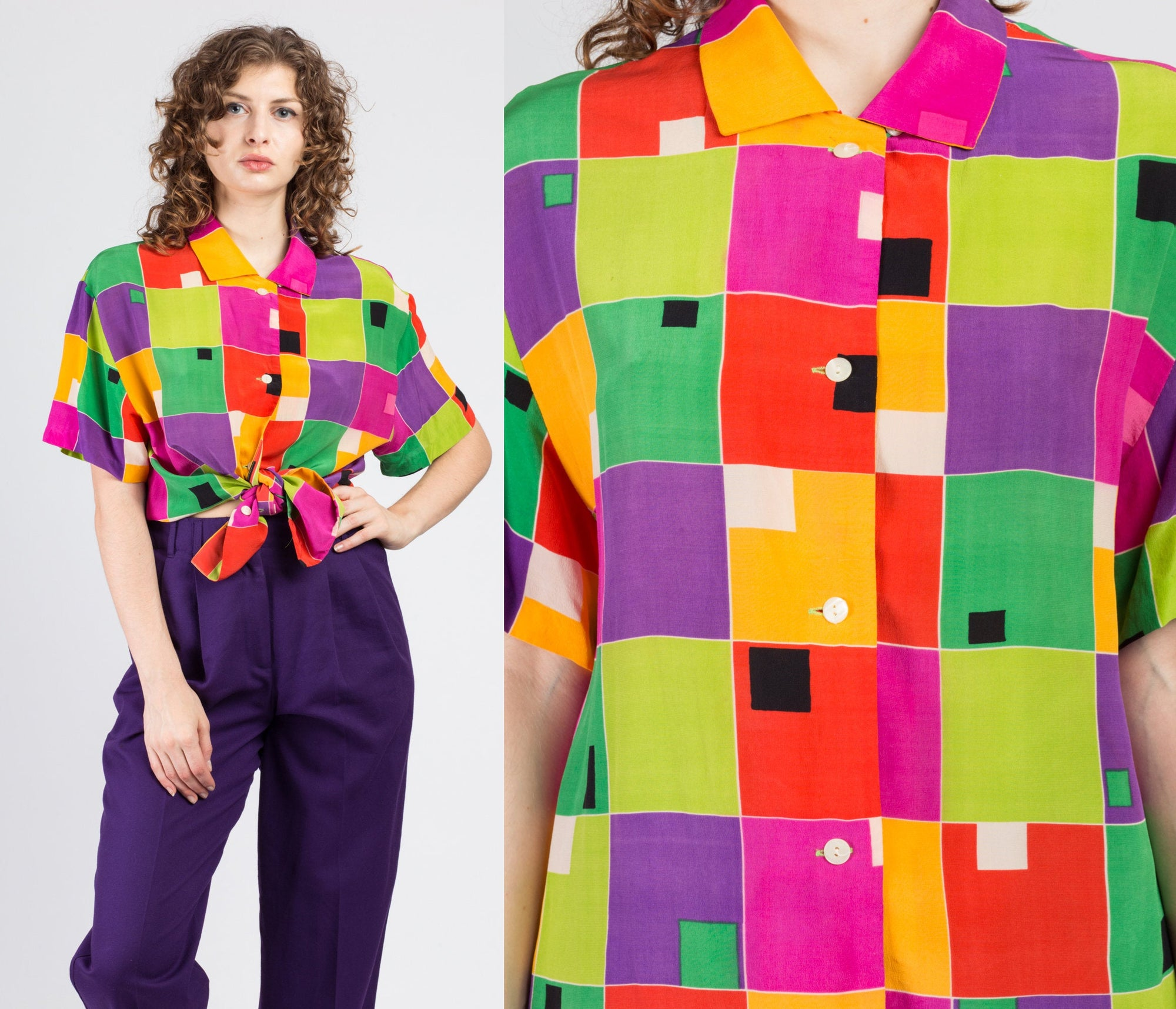 90s Silk Color Block Button Up Shirt - Medium