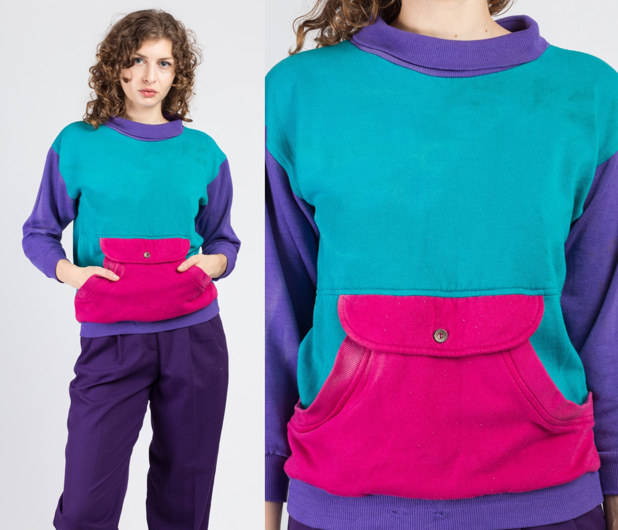 80s Color Block Pocket Sweatshirt - Extra Small