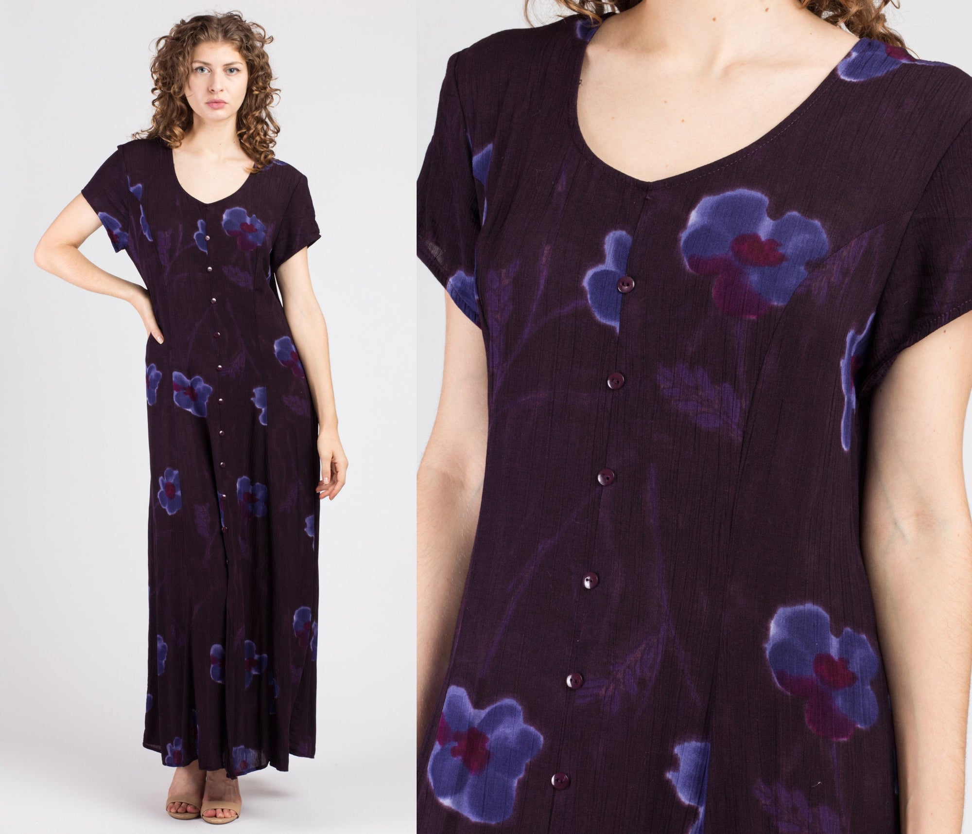 90s Purple Floral Maxi Dress - Extra Large