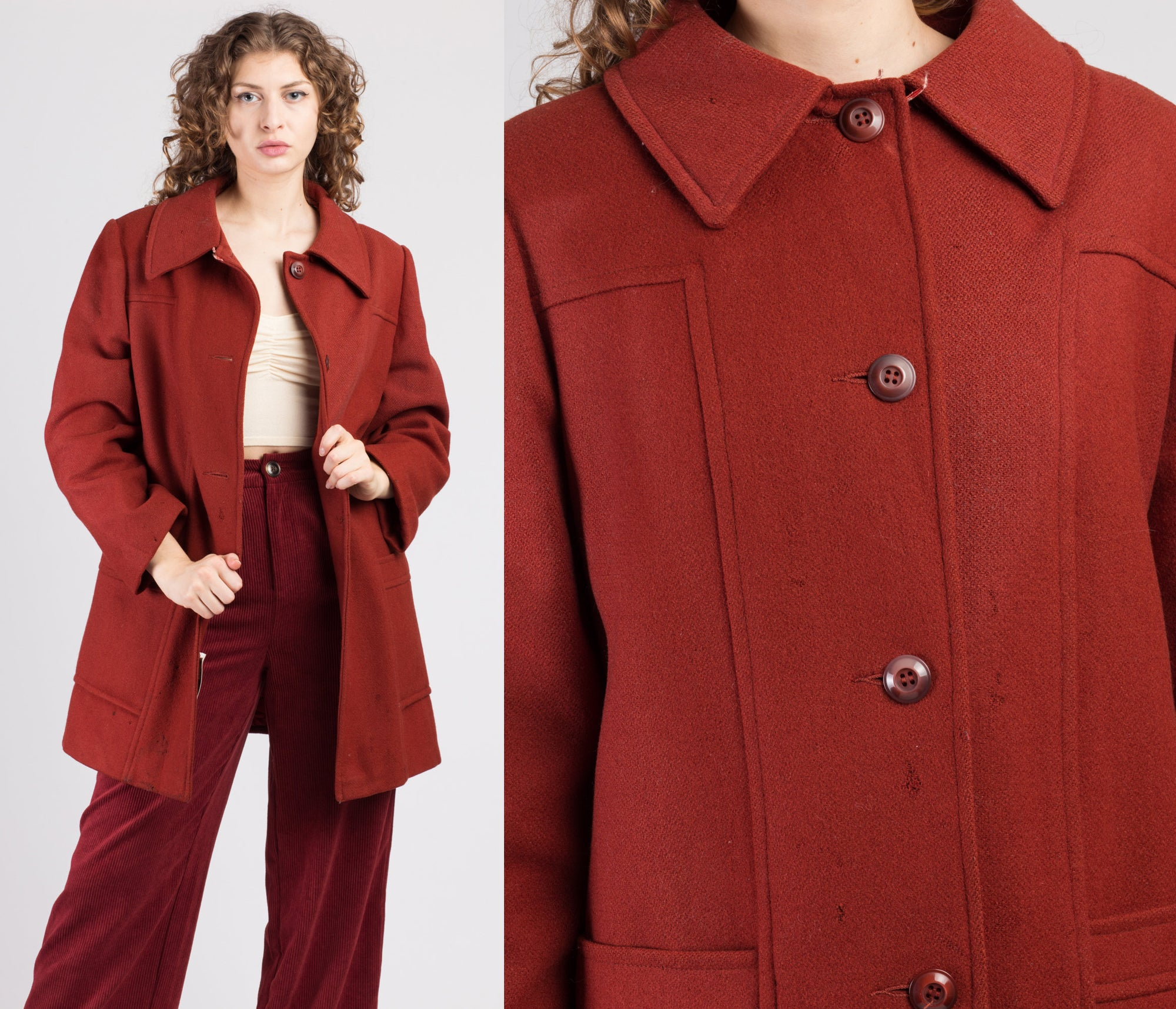 70s Distressed Red Wool Swing Jacket - Extra Large