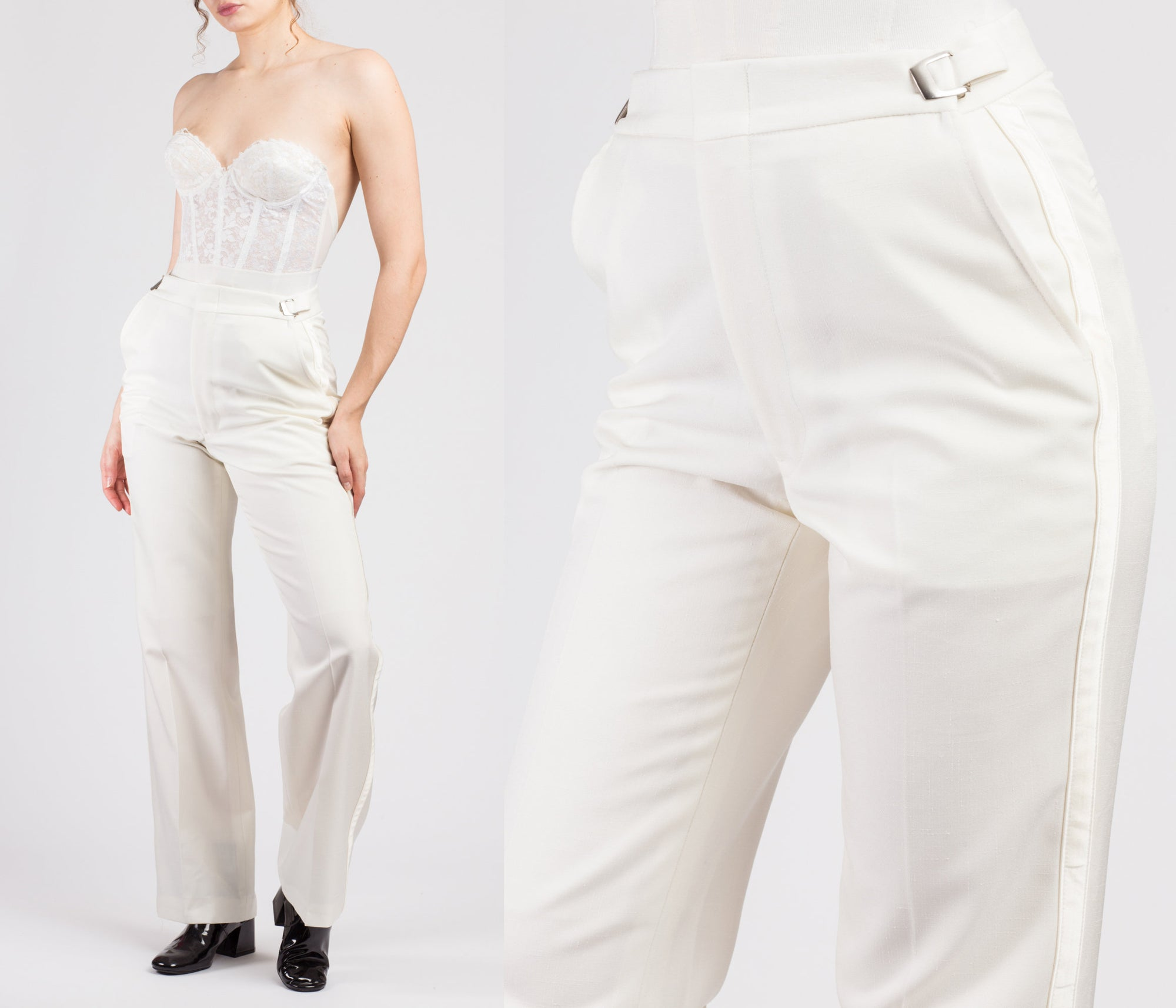70s White Cinched Waist Men's Pants - Medium