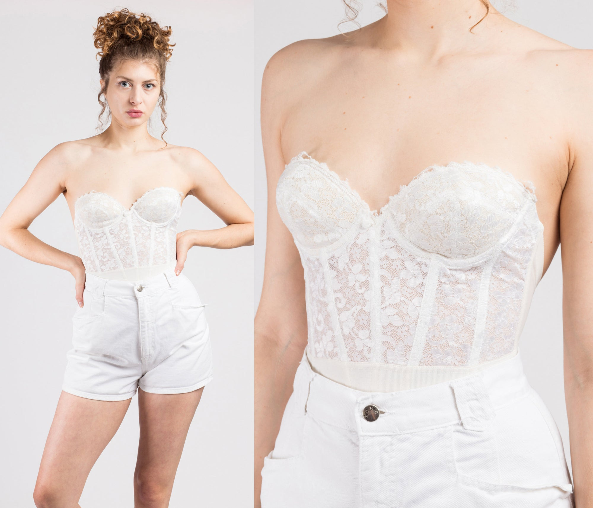70s 80s White Floral Lace Bustier - 34B