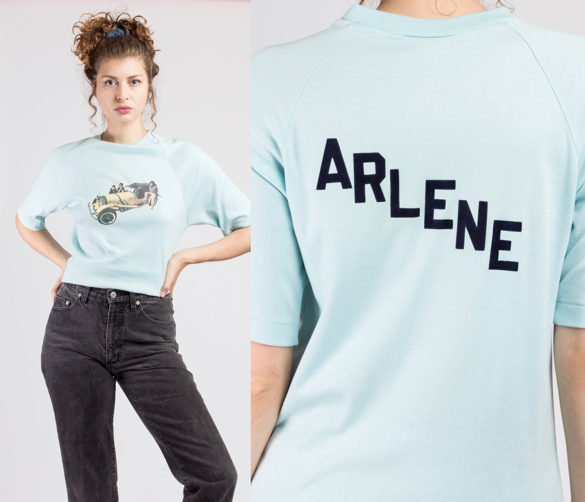 "70s Baby Blue ""Arlene"" Classic Car Raglan Shirt - Medium"