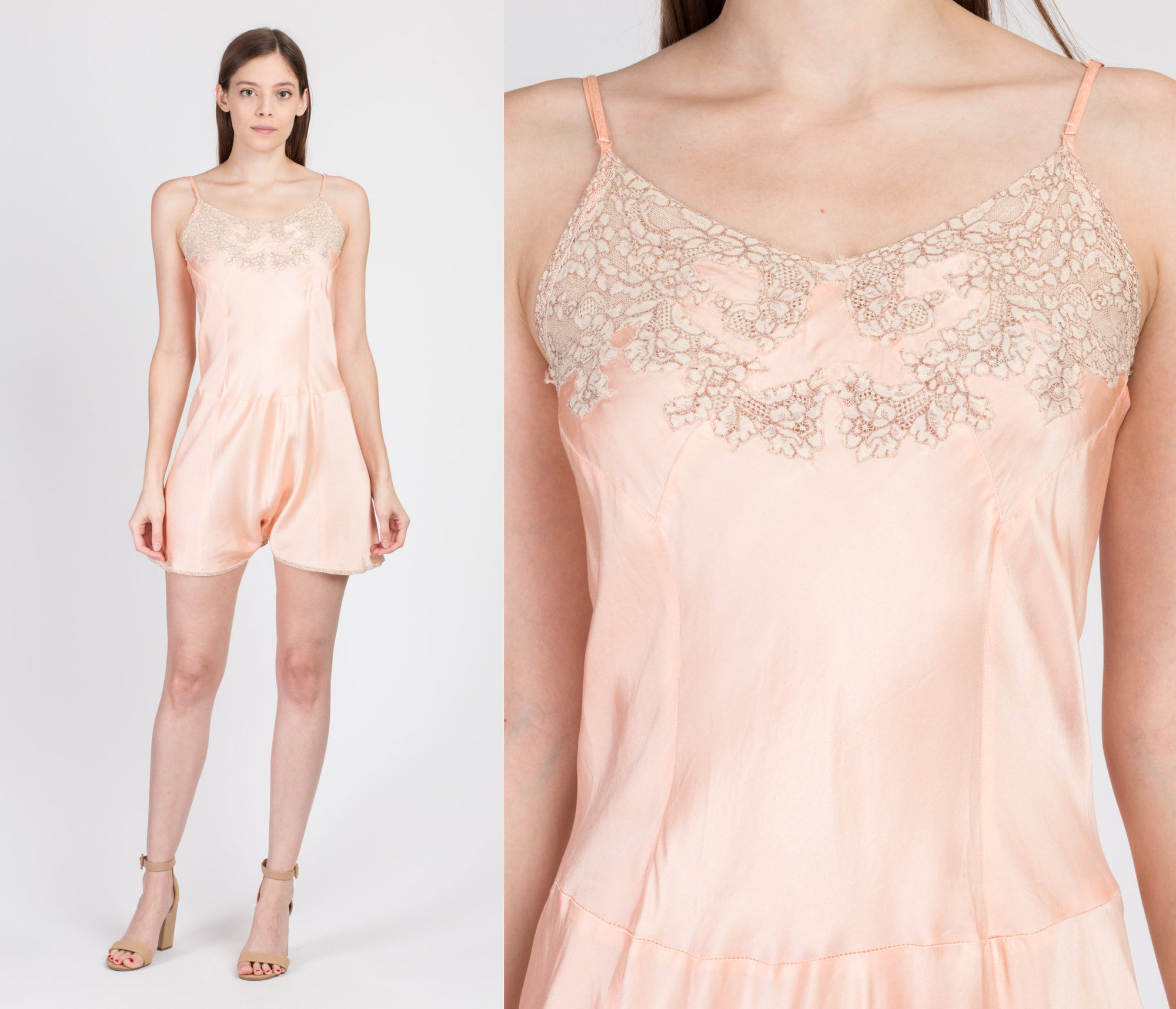 1940s Pink Lingerie Teddy Romper - Extra Small