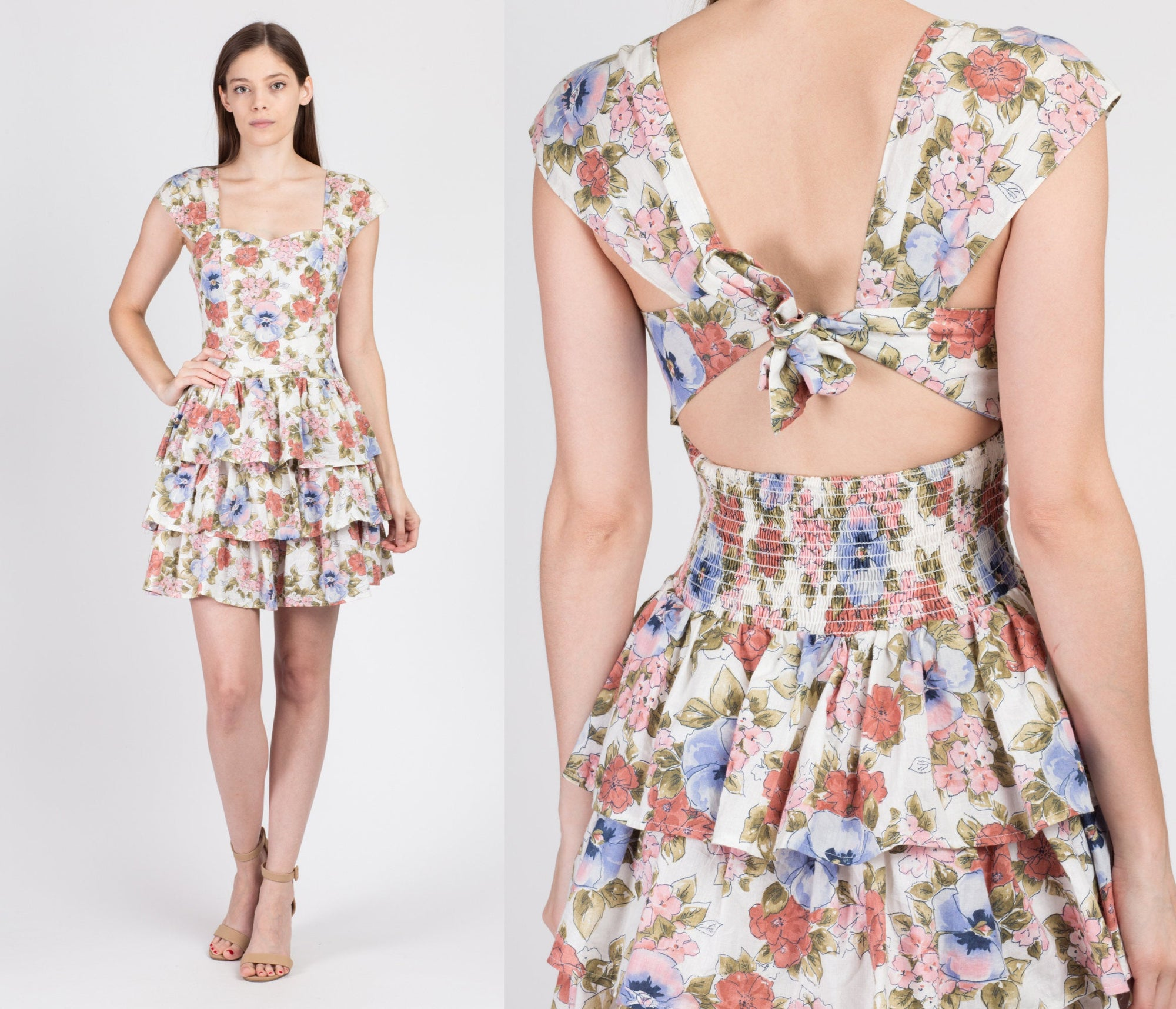 90s Floral Backless Tiered Skirt Mini Dress - Small