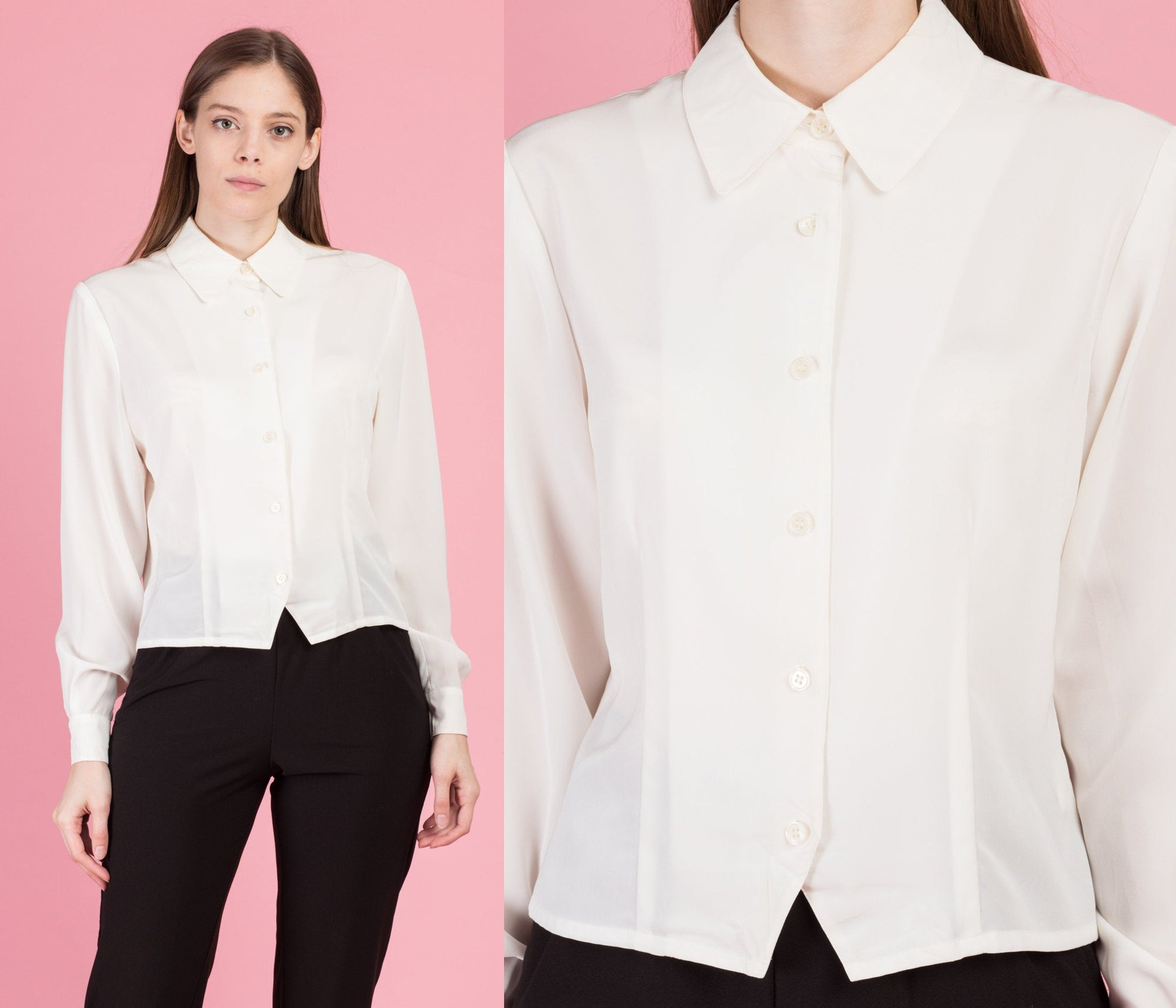 80s Minimalist Ivory Button Up Blouse - Medium