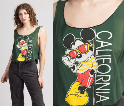90s Mickey Mouse California Crop Top - Large