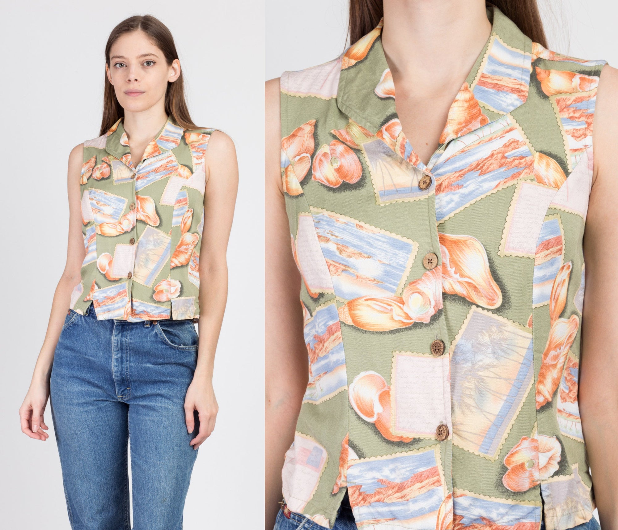 90s Seashell Postcard Button Up Crop Top - Medium