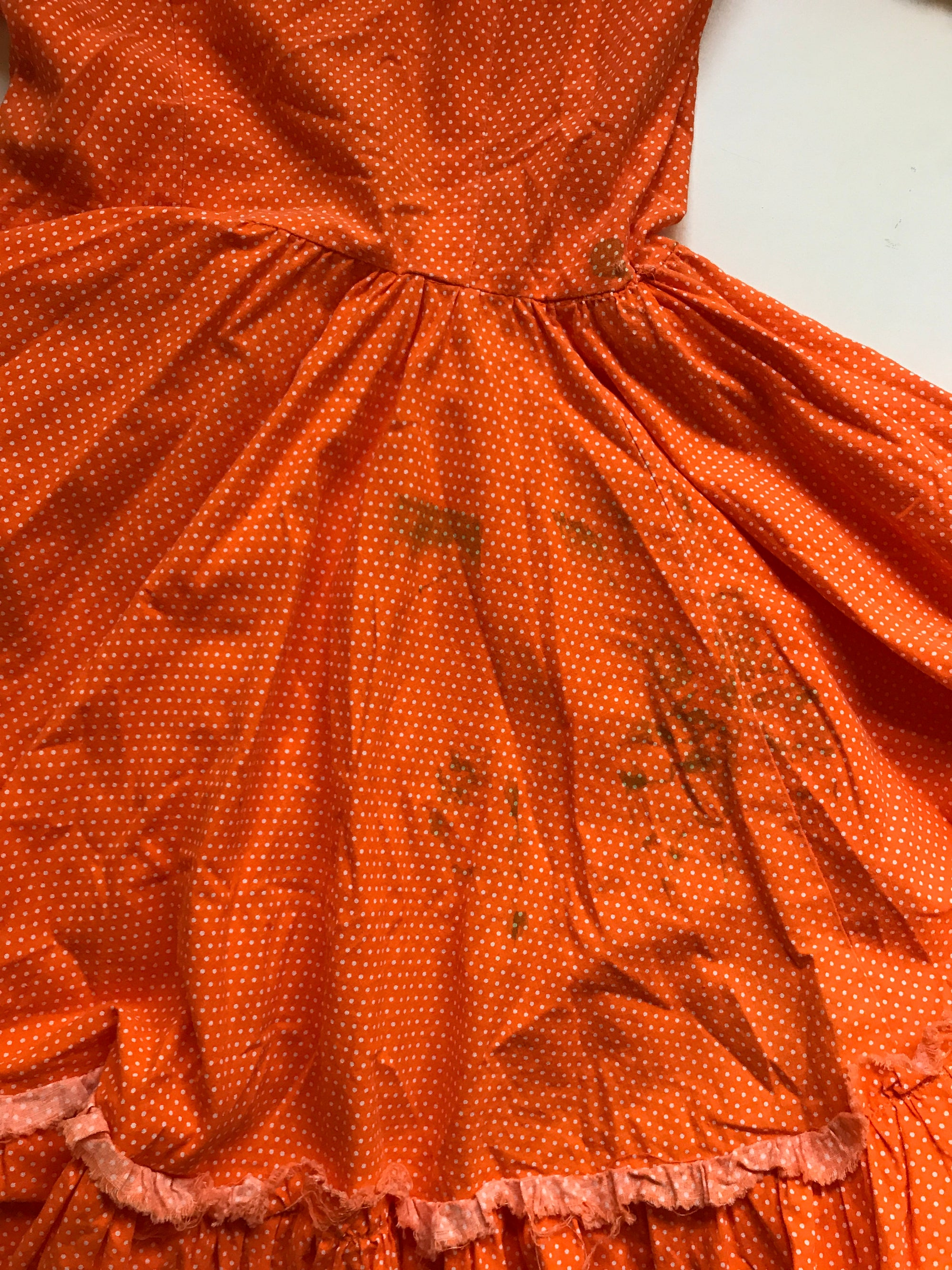 60s Orange Polka Dot Puff Sleeve Costume Mini Dress - Extra Small