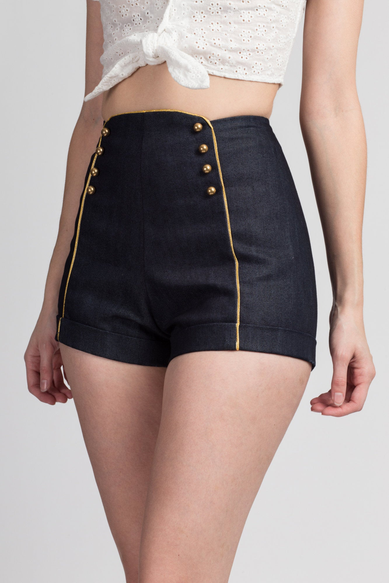 Vintage Sailor Pinup High Waist Shorts - Extra Small