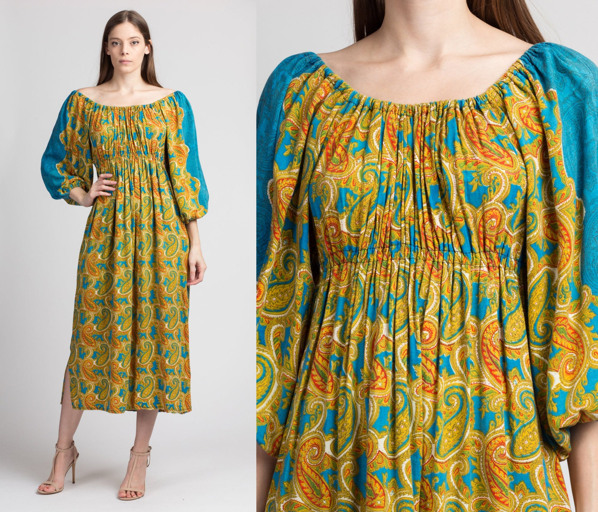 60s 70s Boho Paisley Kaftan Dress - XS to Medium