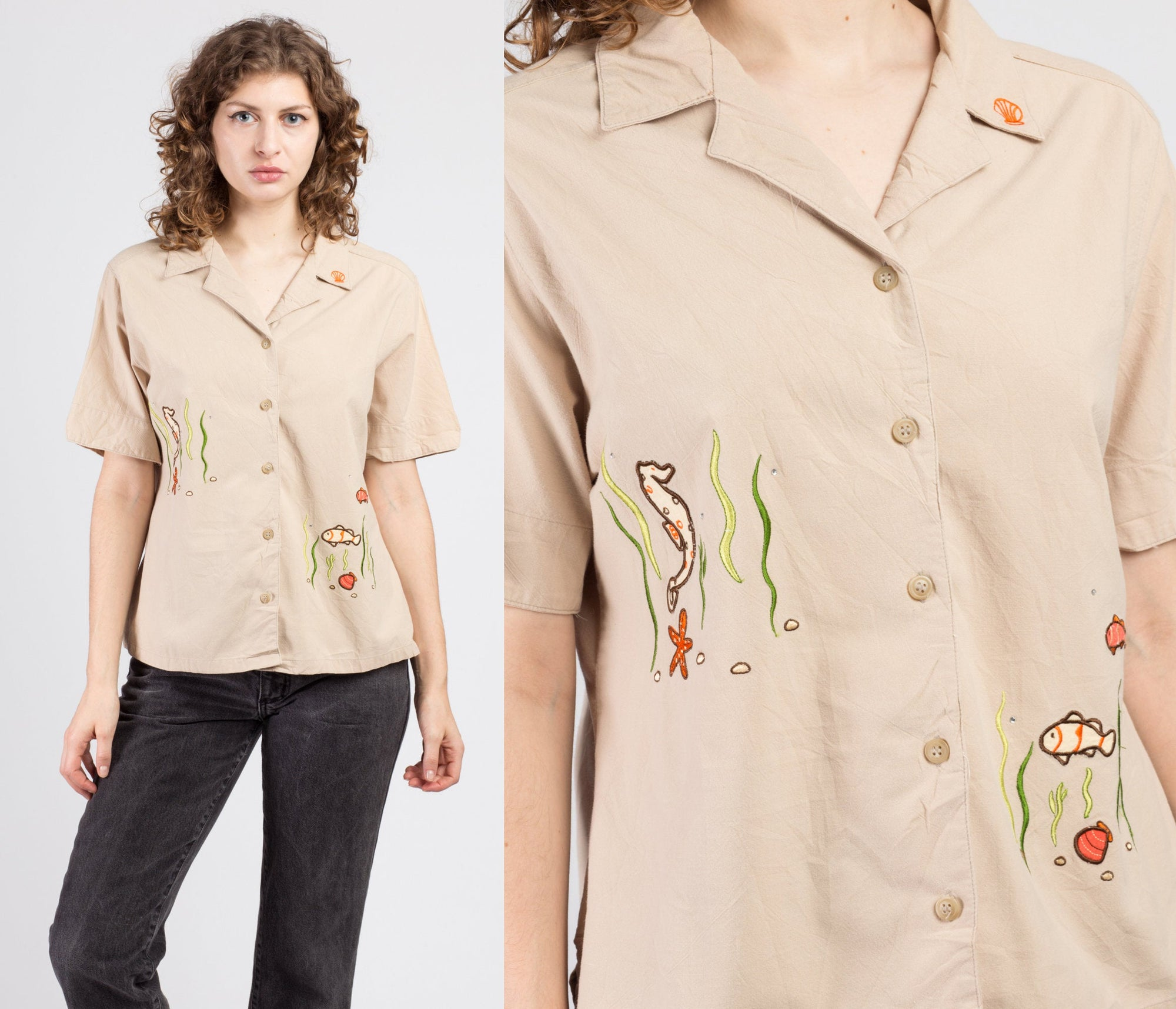 90s Khaki Sea Creature Shirt - Large