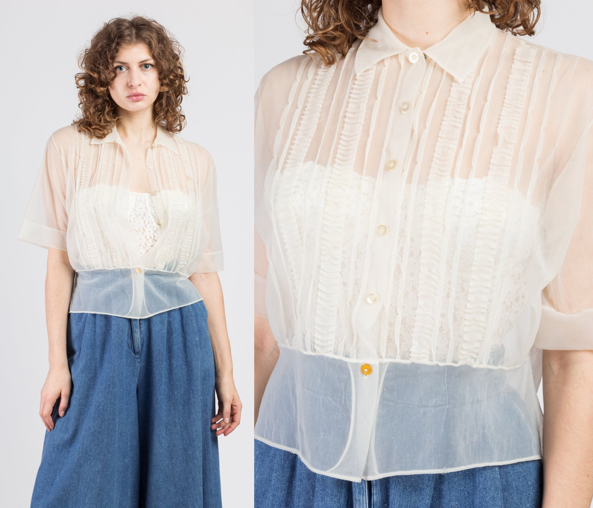 1950s Sheer Cream Pintucked Blouse - Extra Large