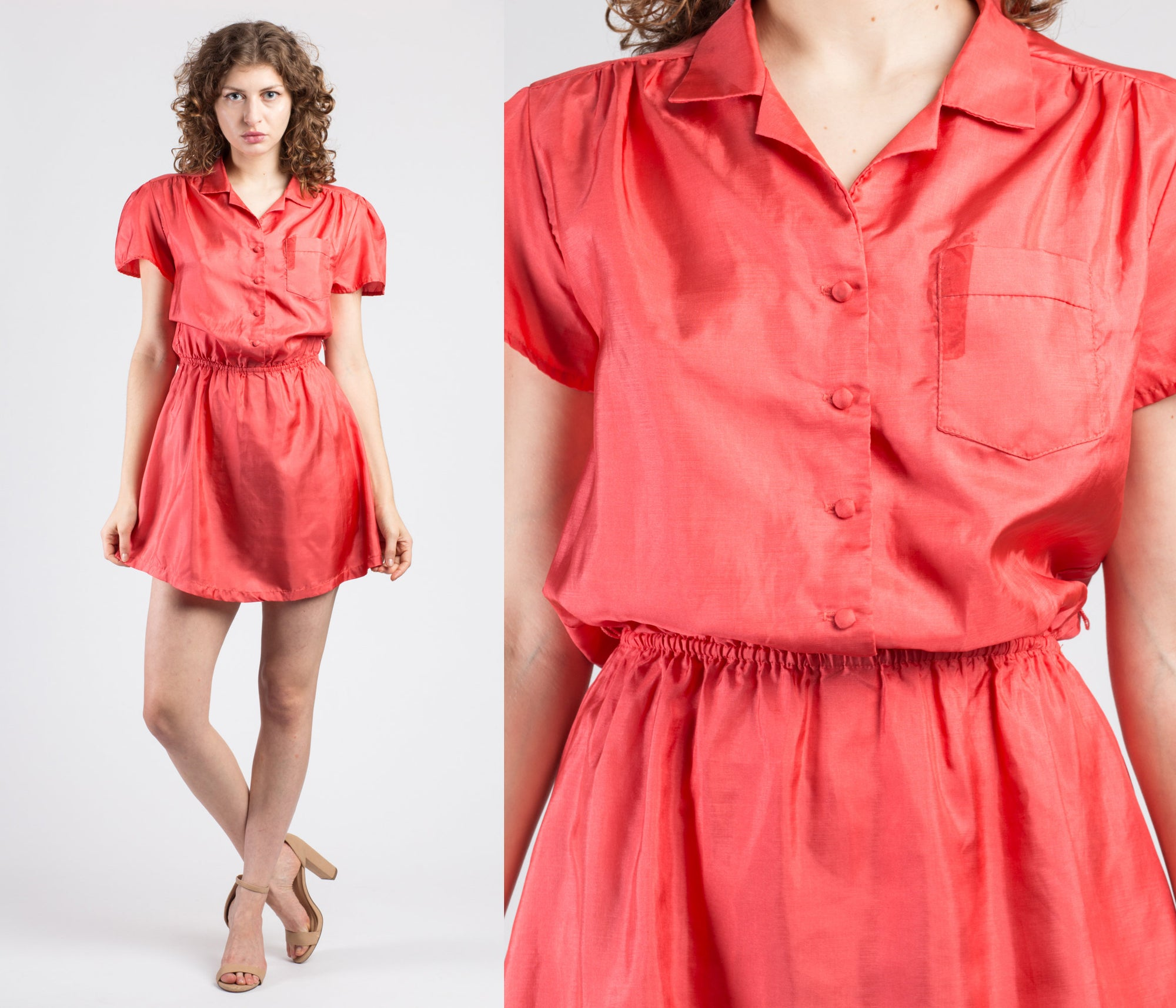70s Shiny Coral Mini Shirt Dress - Small to Medium
