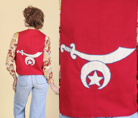 Vintage Shriner's Vest - Men's Medium