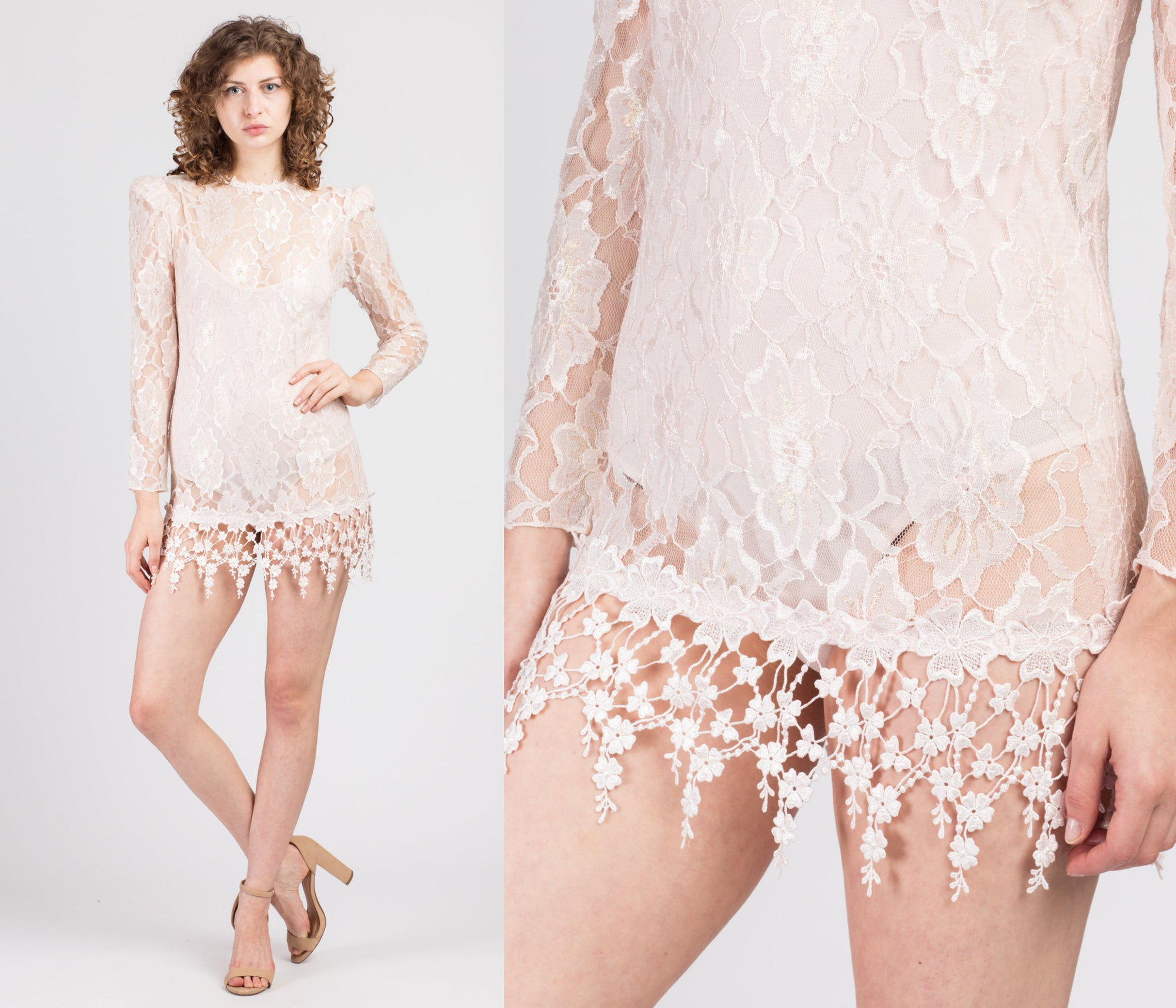 80s Sheer Baby Pink Lace Mini Dress - Petite Small