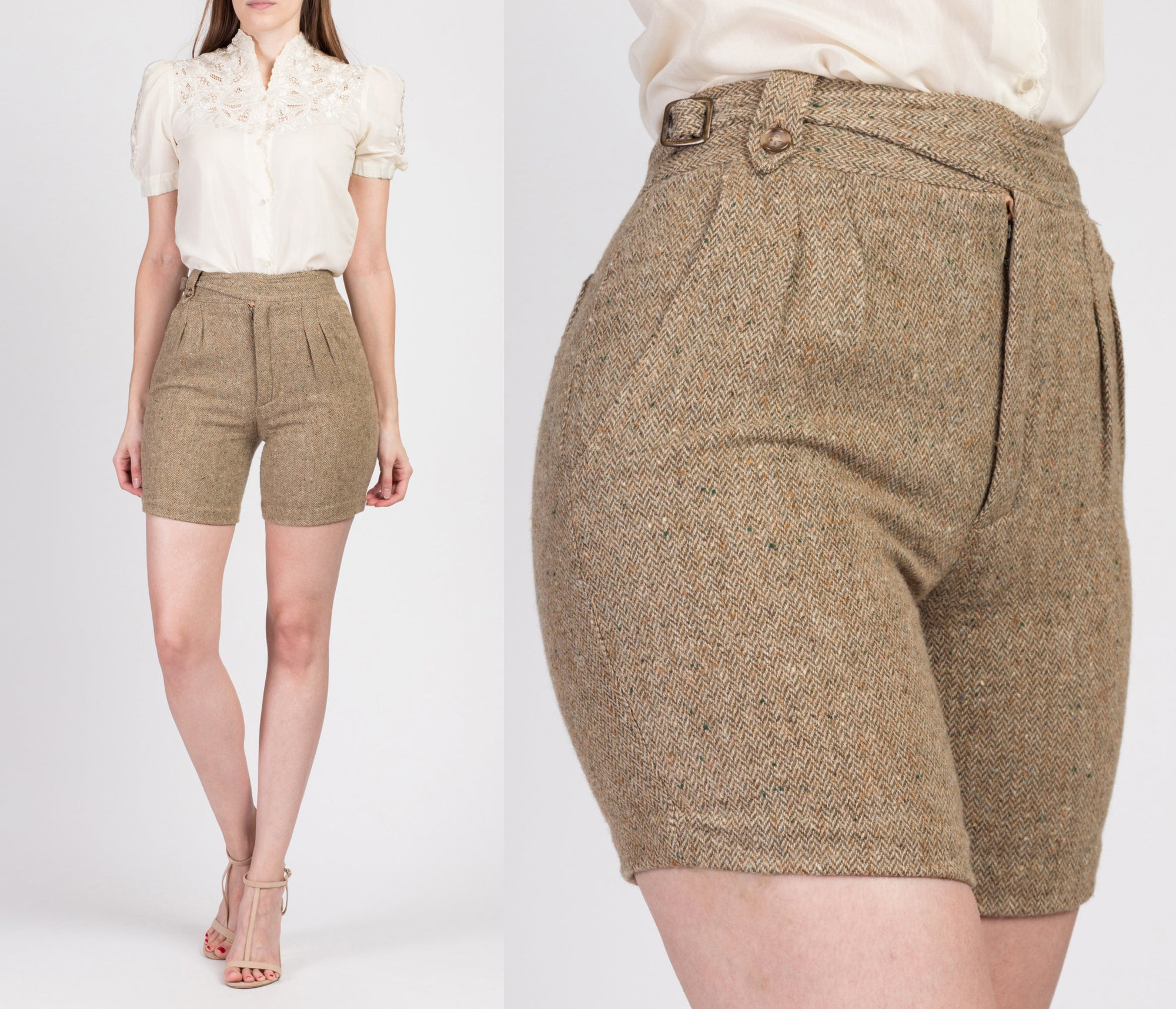 60s 70s Norman Todd Tweed High Waisted Shorts - Extra Small, 24""
