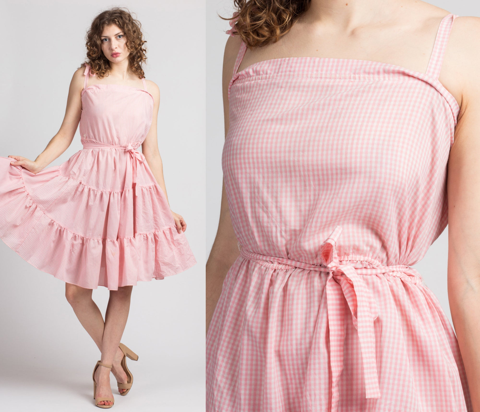 60s Pink & White Gingham Summer Dress - Large