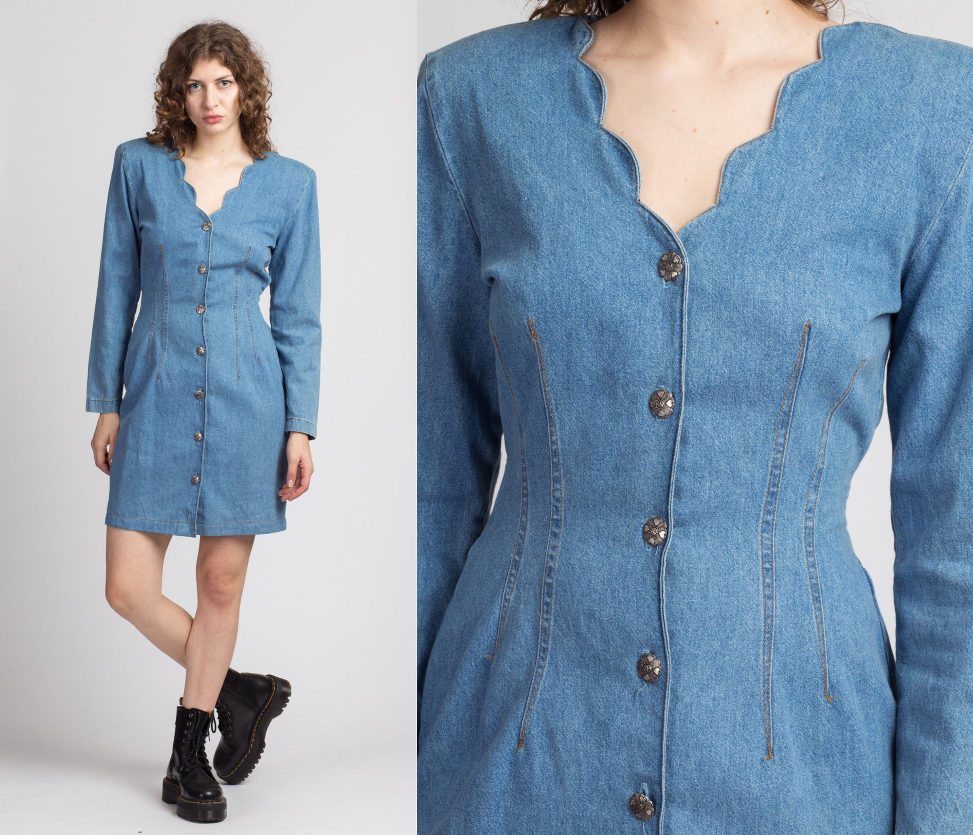 80s Scalloped Denim Mini Dress - Small to Medium