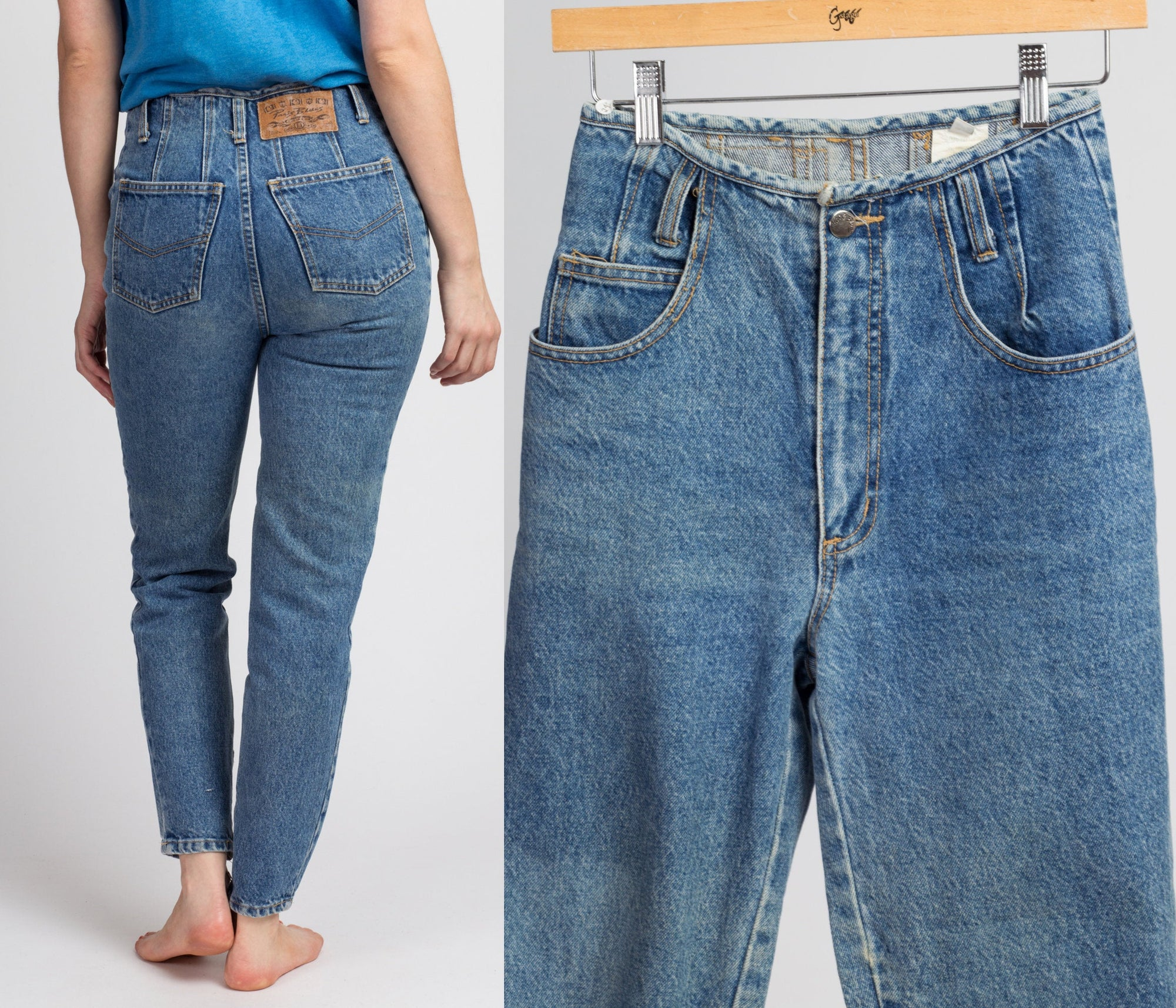 90s Paris Blues High Waist Streetwear Jeans - Extra Small