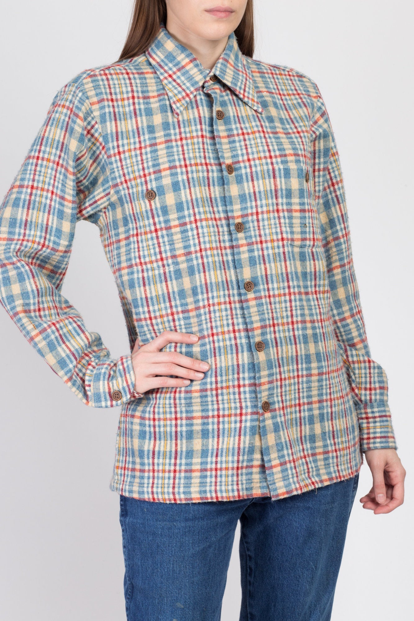 70s Plaid Knit Workwear Shirt - Men's Medium