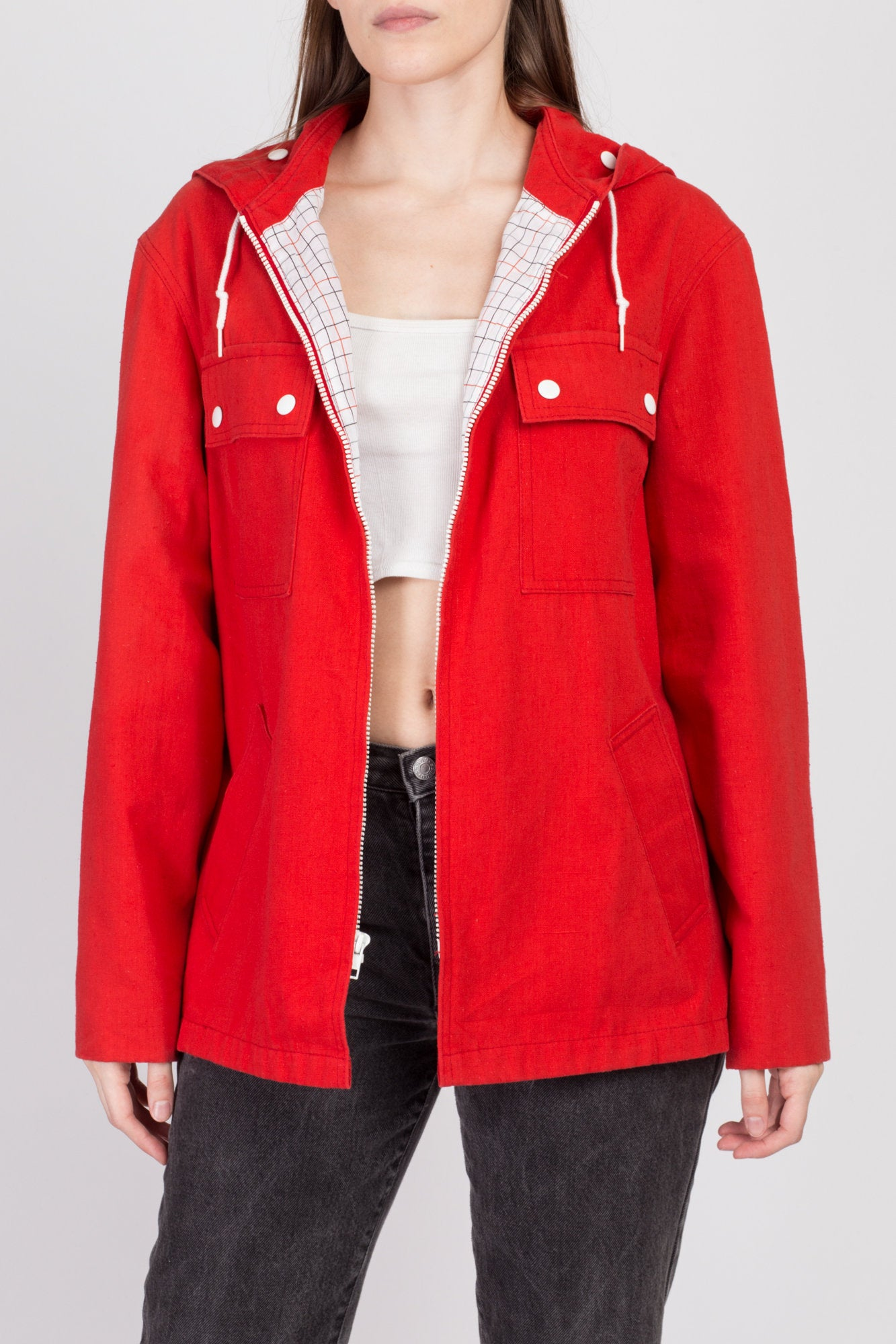 80s Red Hooded Lightweight Jacket - Large
