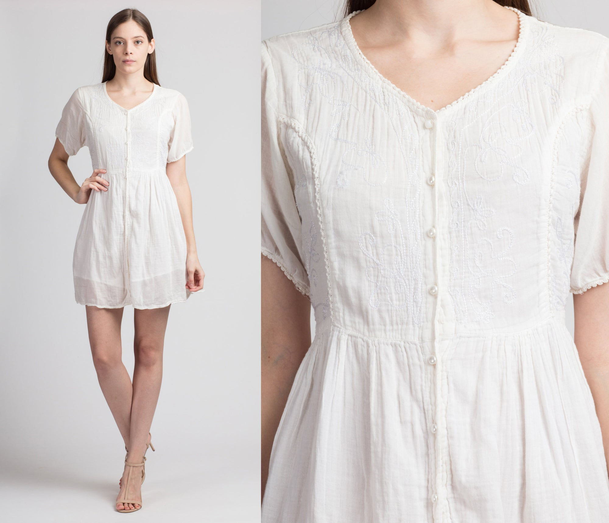 90s Boho White Cotton Mini Dress - Small
