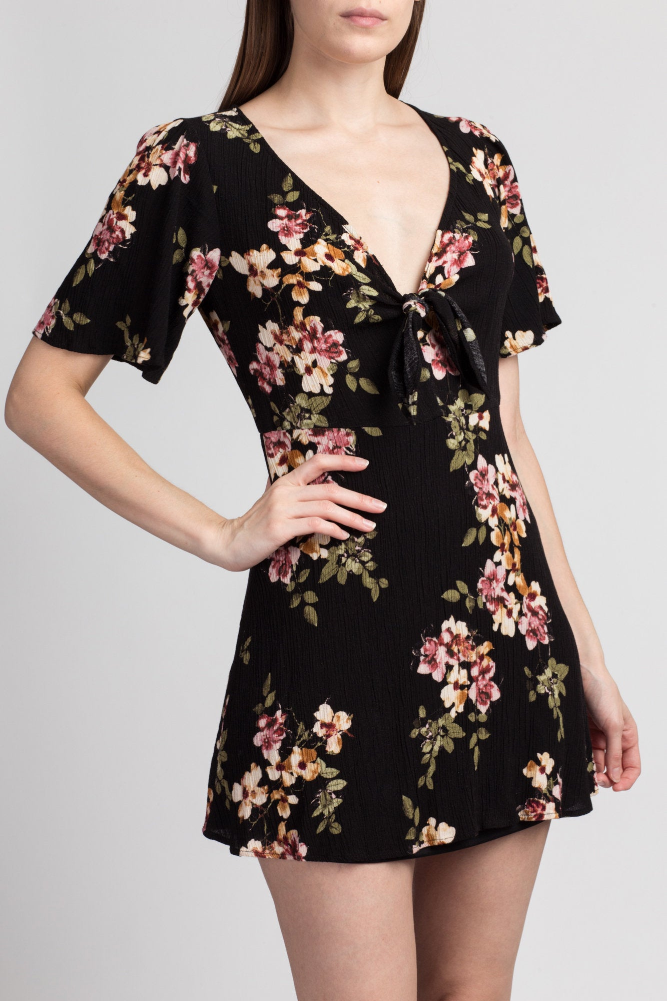 90s Boho Black Floral Mini Dress - Small