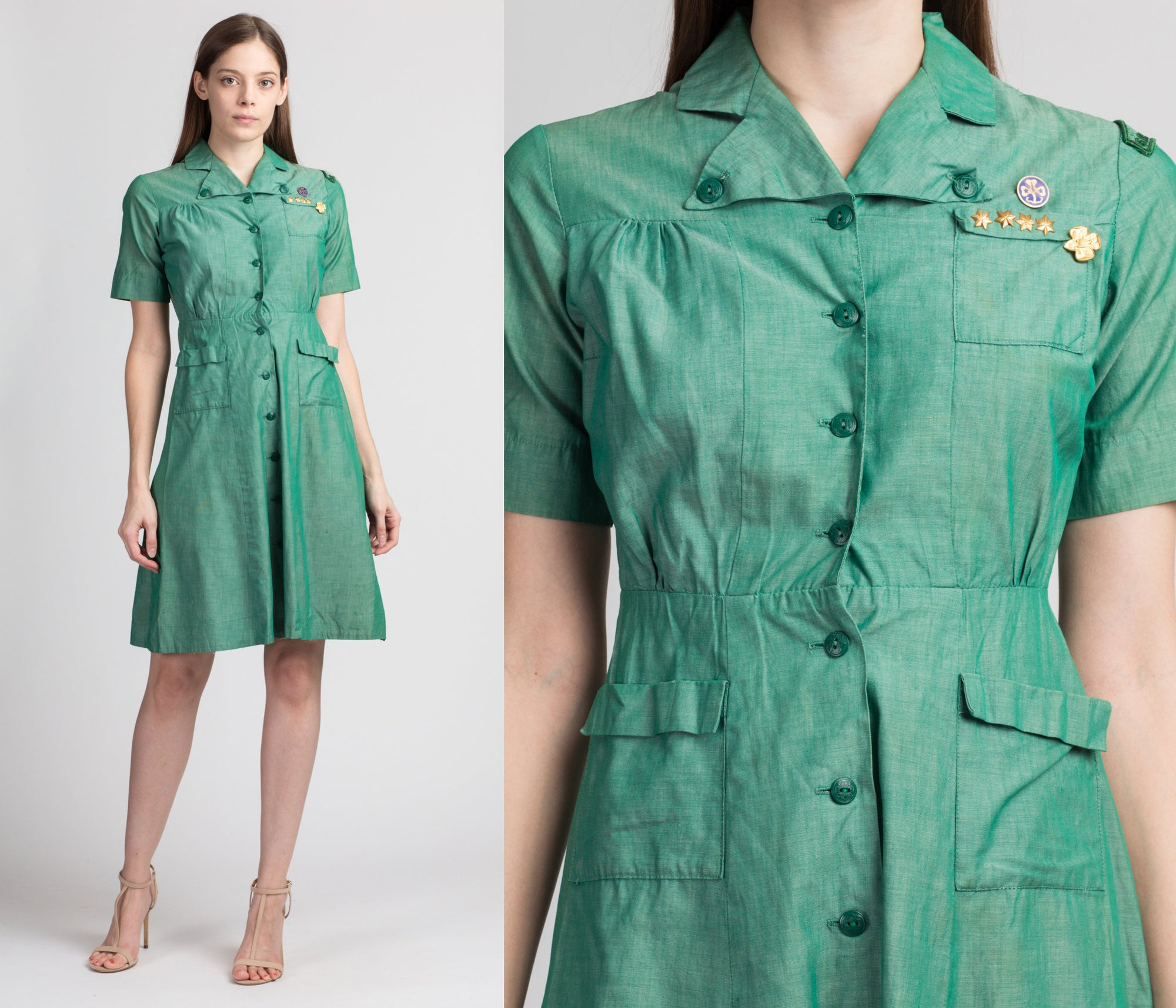 1950s Girl Scouts Uniform Dress - Extra Small
