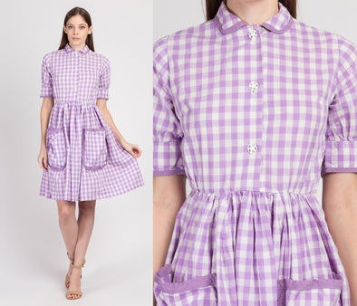 Vintage 1940s Purple Gingham Checkered Day Dress - Petite XS