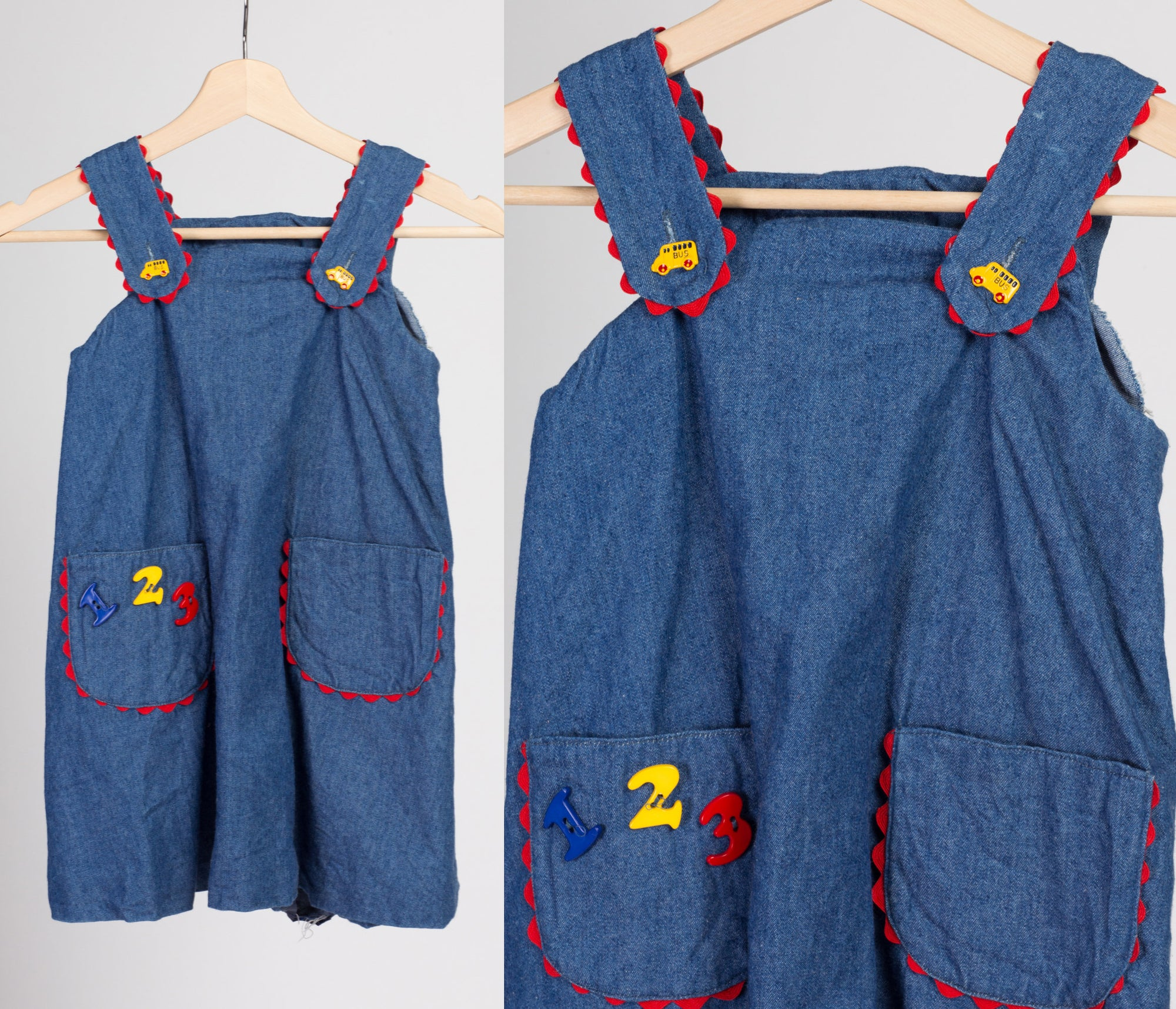 Vintage Toddler Girl's Denim Pinafore Dress - 18-24m