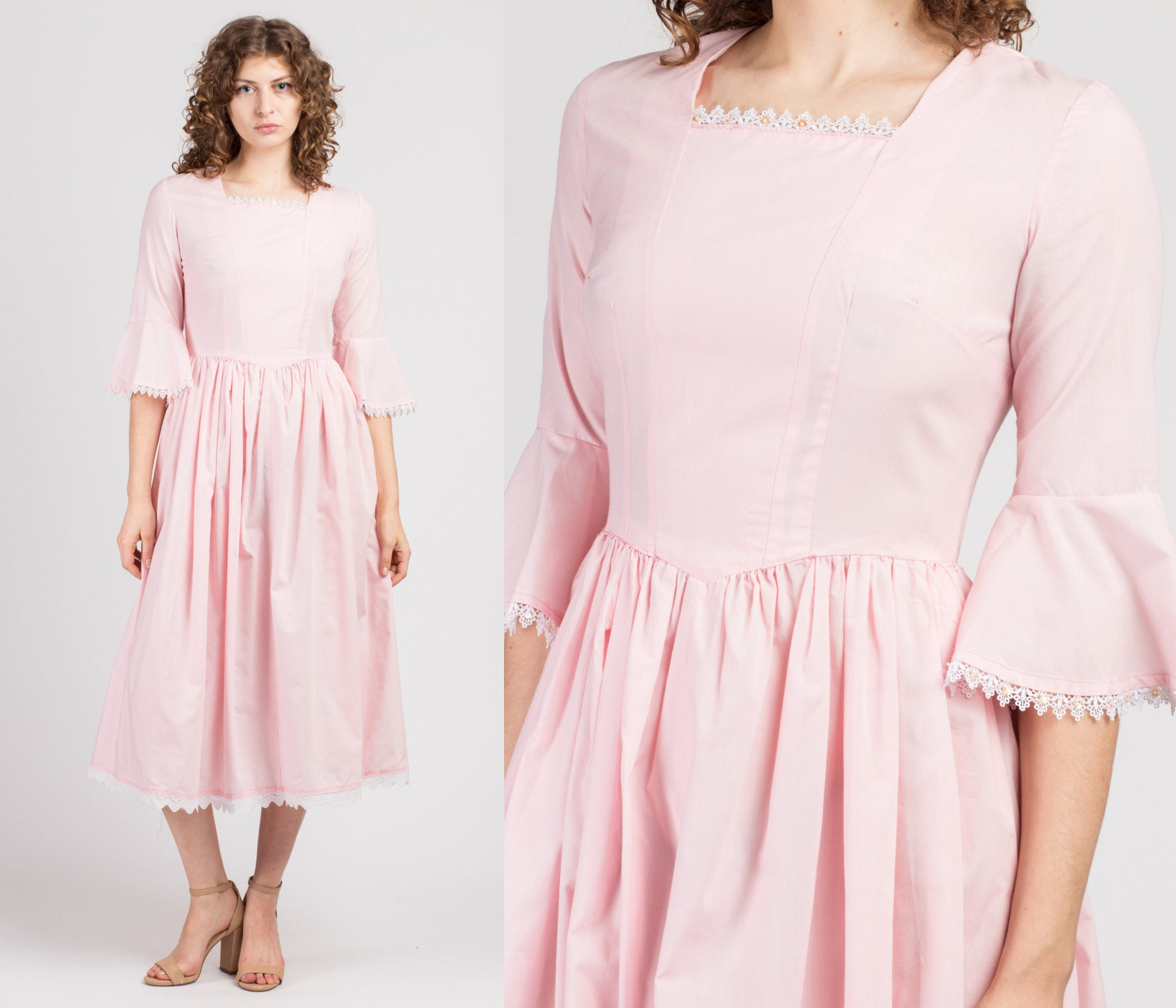 70s Baby Pink Bell Sleeve Midi Dress - Small